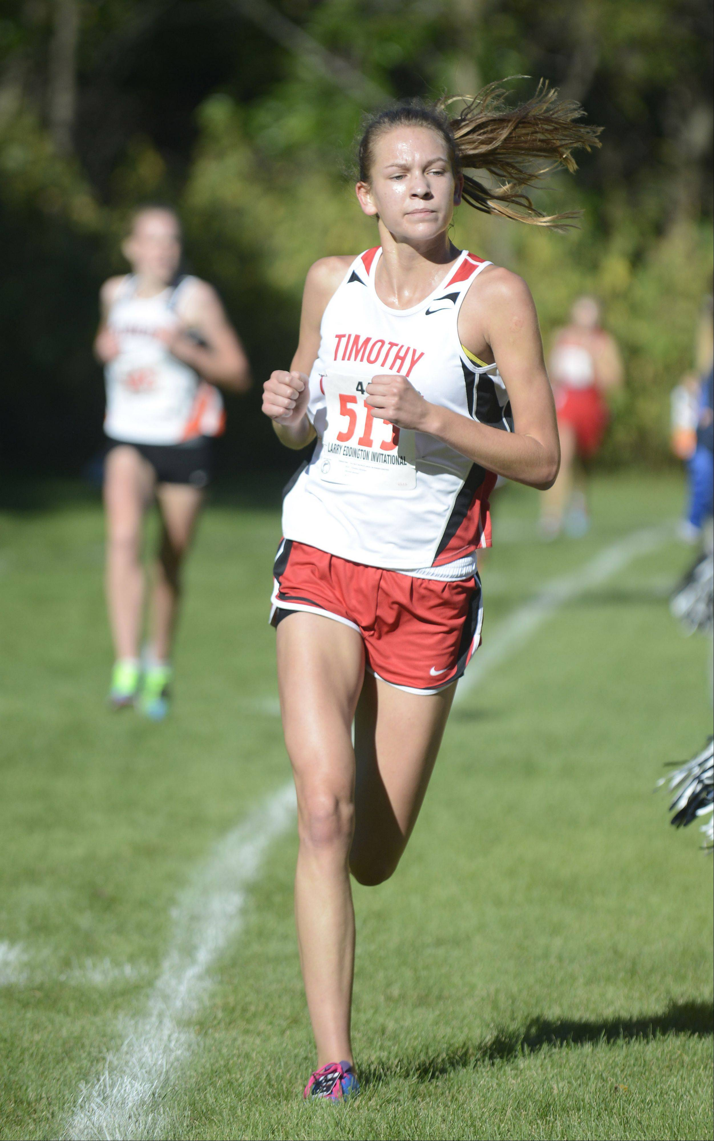 Timothy Christian's Hannah Bosman comes in first for her team and 20th place overall at the Kaneland Invitational cross country meet in Elburn on Saturday, September 21.
