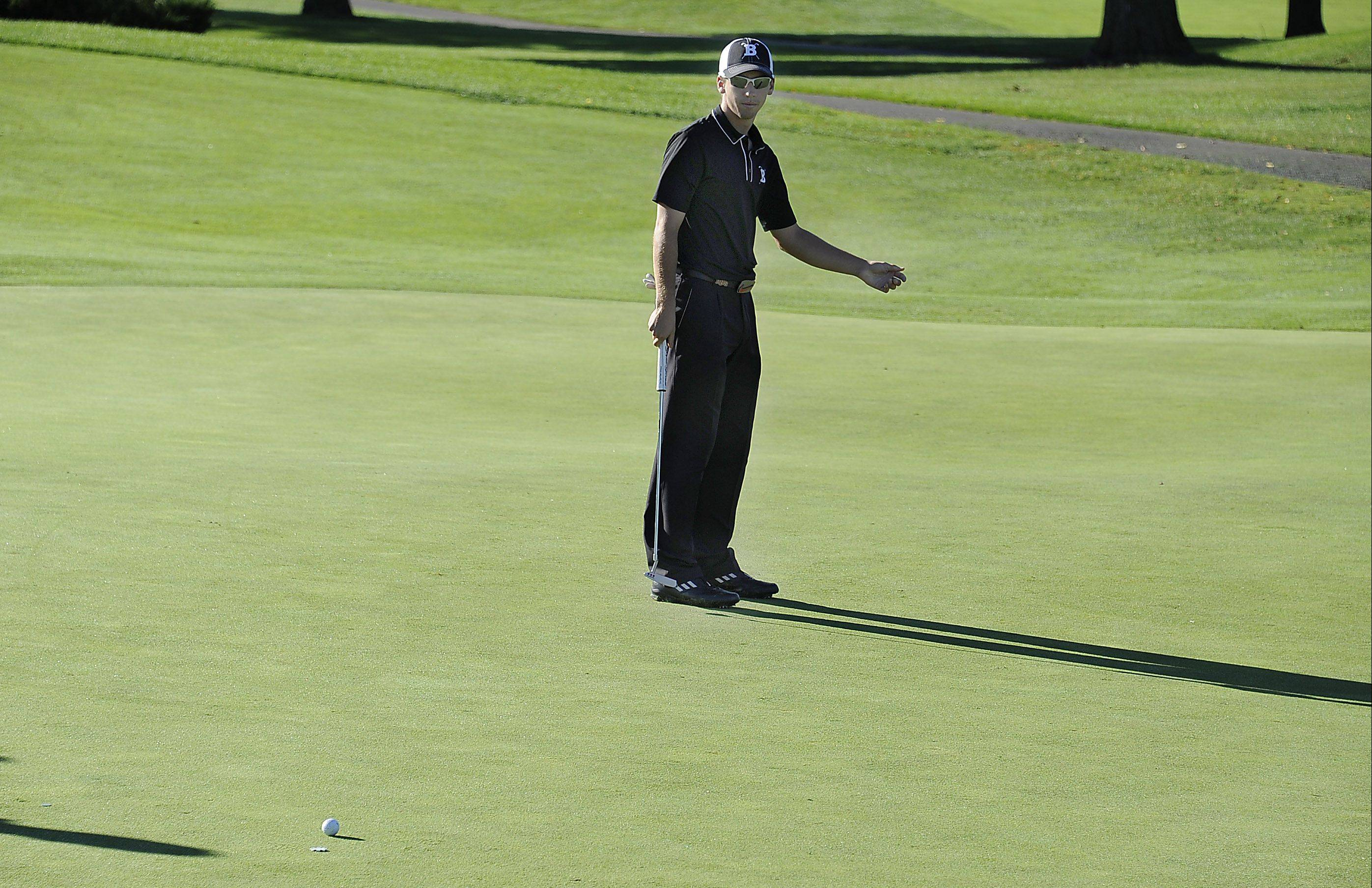 Barrington's Brad Powell follows his putt with a little body english to no avail on No. 3 at Wheeling's Invitational held at Chevy Chase Golf Club in Wheeling on Saturday.