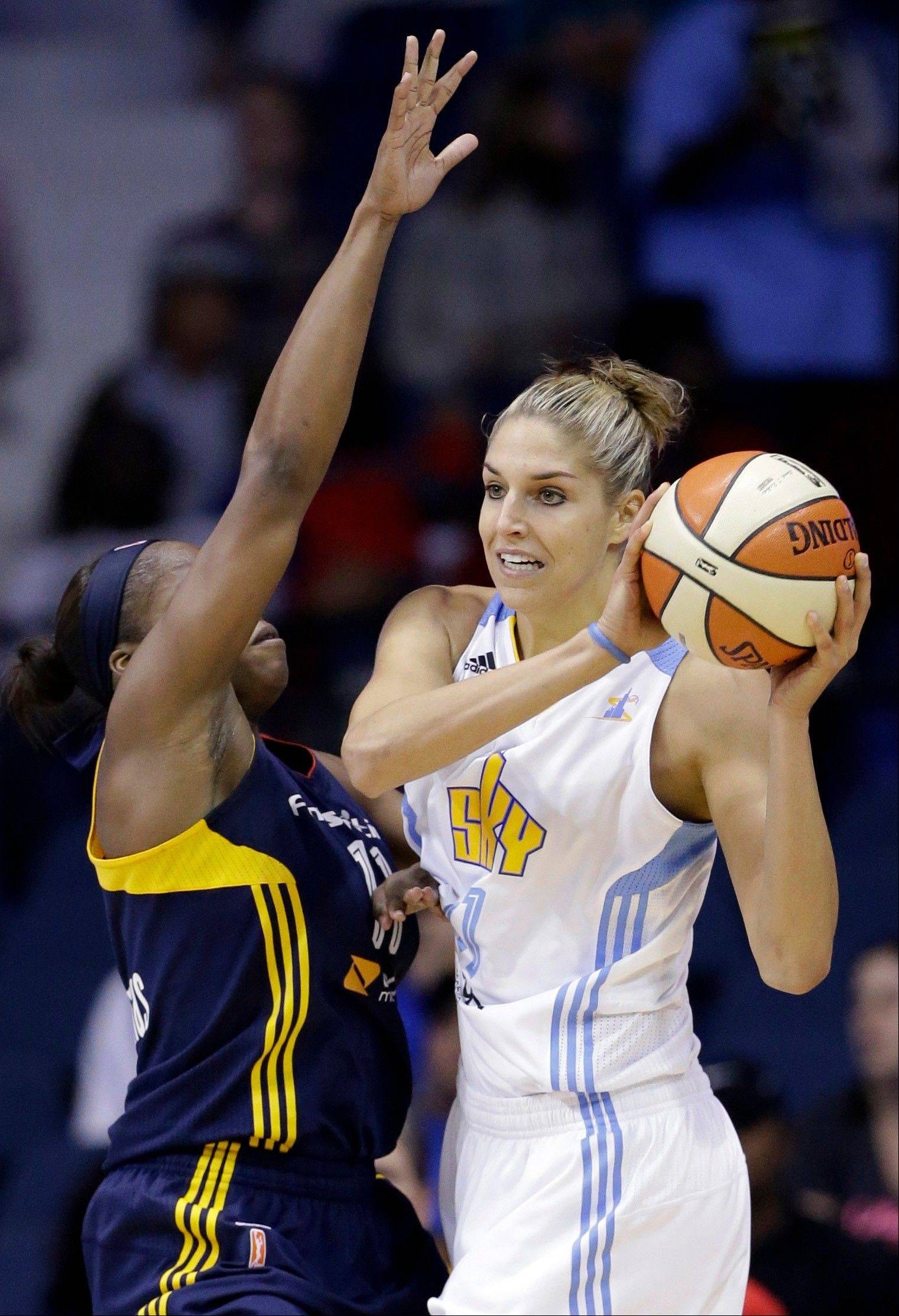 Chicago Sky rookie Elena Delle Donne, right, had 20 points against the Fever in Game 1, but it wasn't enough to get the win. The Sky faces elimination in Game 2 Sunday at Indianapolis, where the Sky is 2-15 alltime.