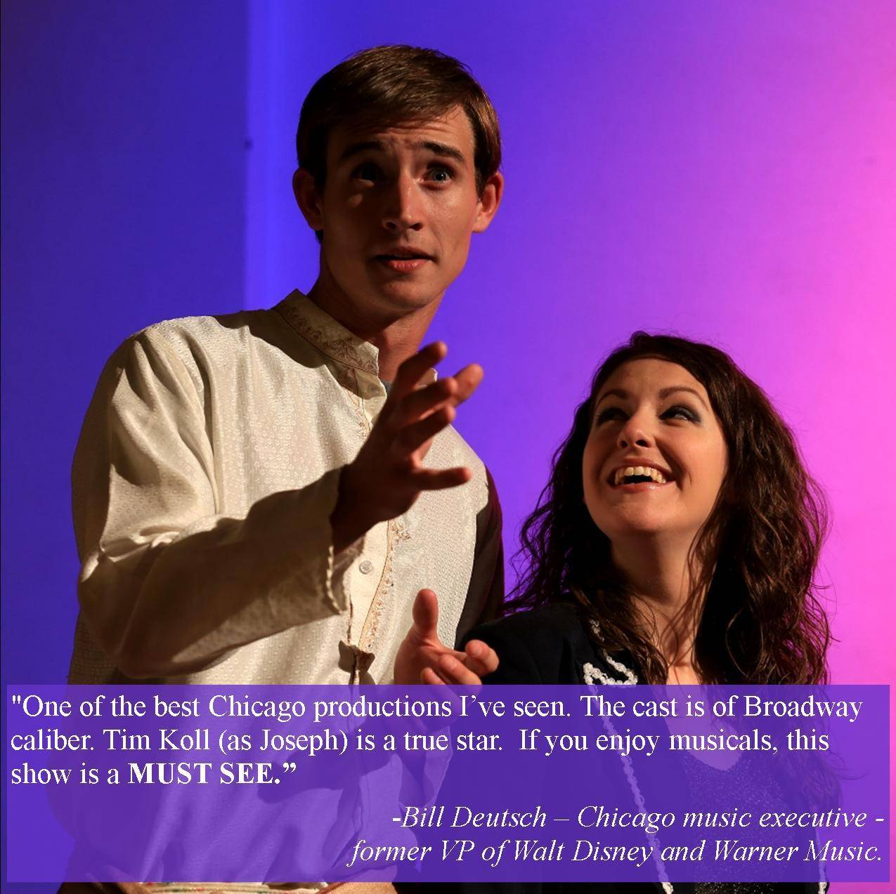 "Tim Koll as the title role of Joseph, and Julia Macholl as the Narrator in Theatre Nebula's exquisite production of ""Joseph and the Amazing Technicolor Dreamcoat"" at Cutting Hall in Palatine."
