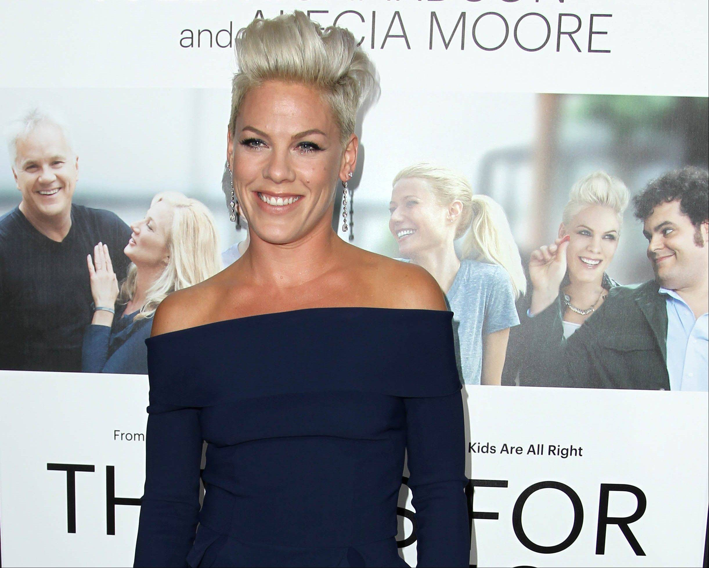 Alecia Moore aka Pink makes her acting debut in �Thanks for Sharing� opposite Tim Robbins, Mark Ruffalo and Josh Gad.