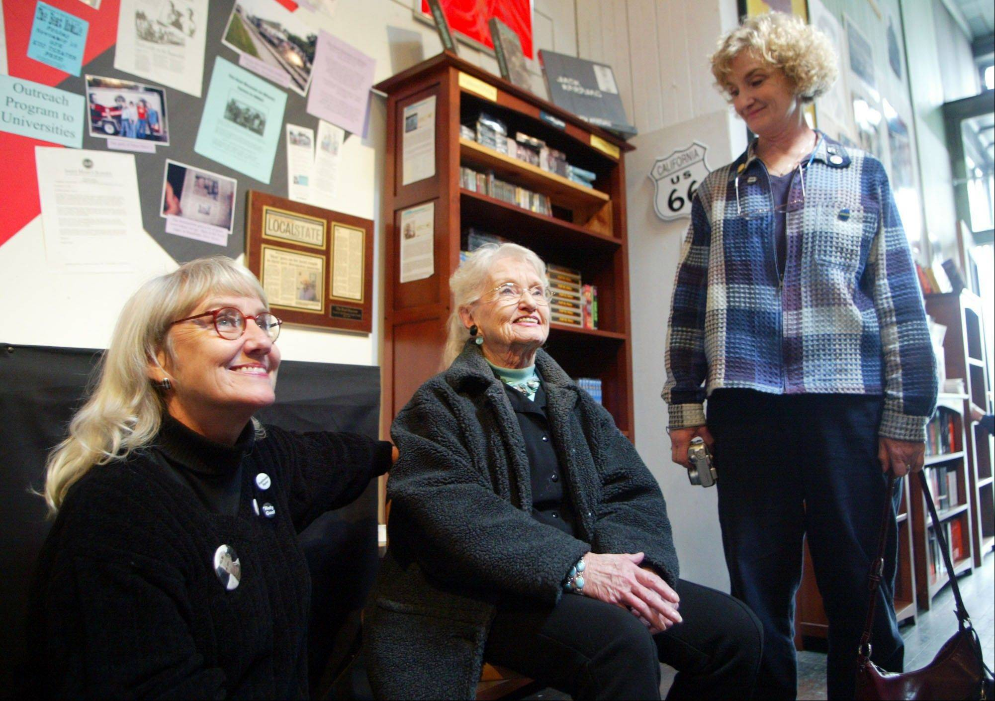"Beat writer Neal Cassady's daughter, Jami Cassady, left, his wife, Carolyn Cassady, center, and daughter, Cathy Cassady, smile while visiting ""The Beat Museum,"" in the North Beach district of San Francisco."