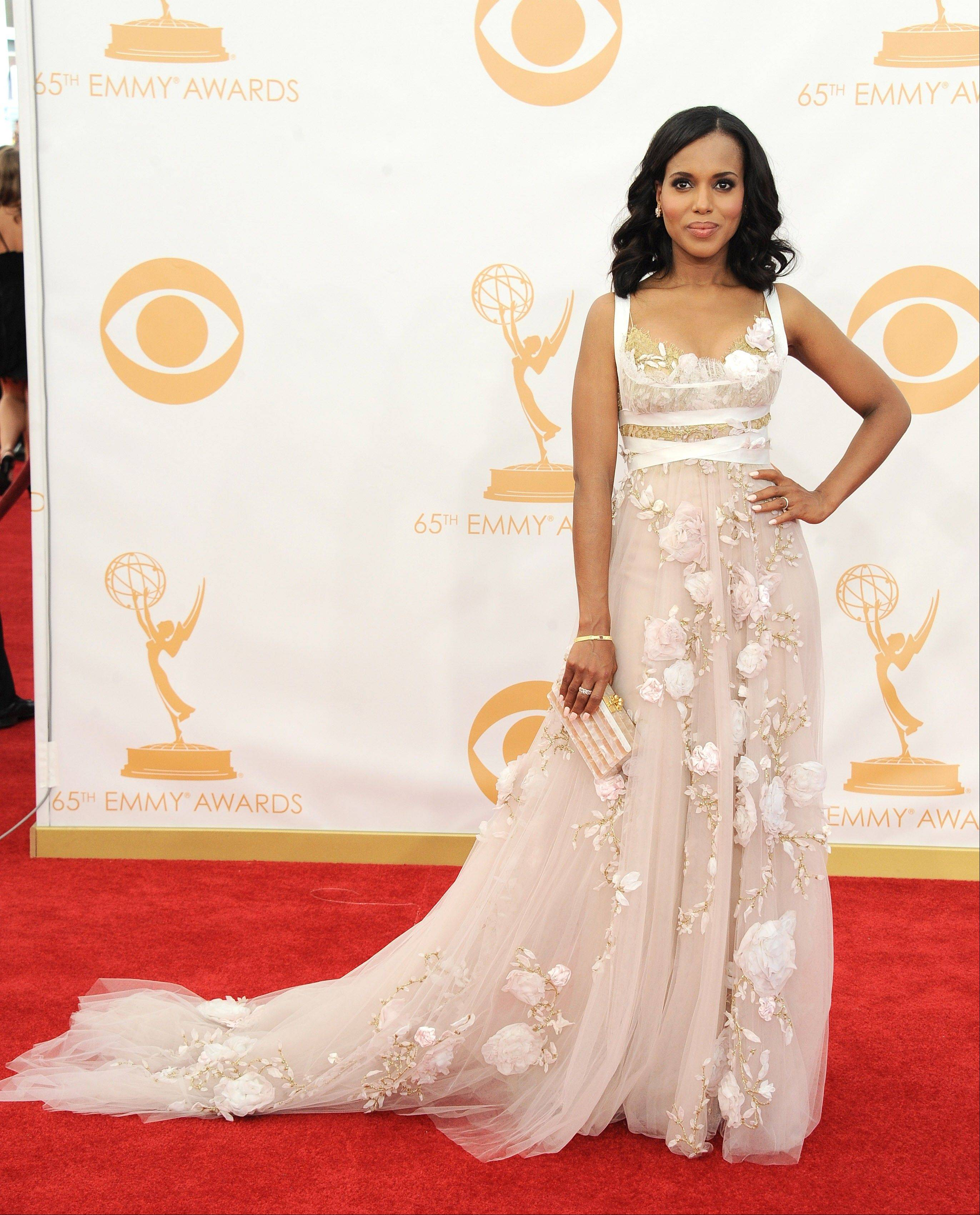 Kerry Washington, wearing Marchesa, arrives at the 65th Primetime Emmy Awards at Nokia Theatre on Sunday in Los Angeles.