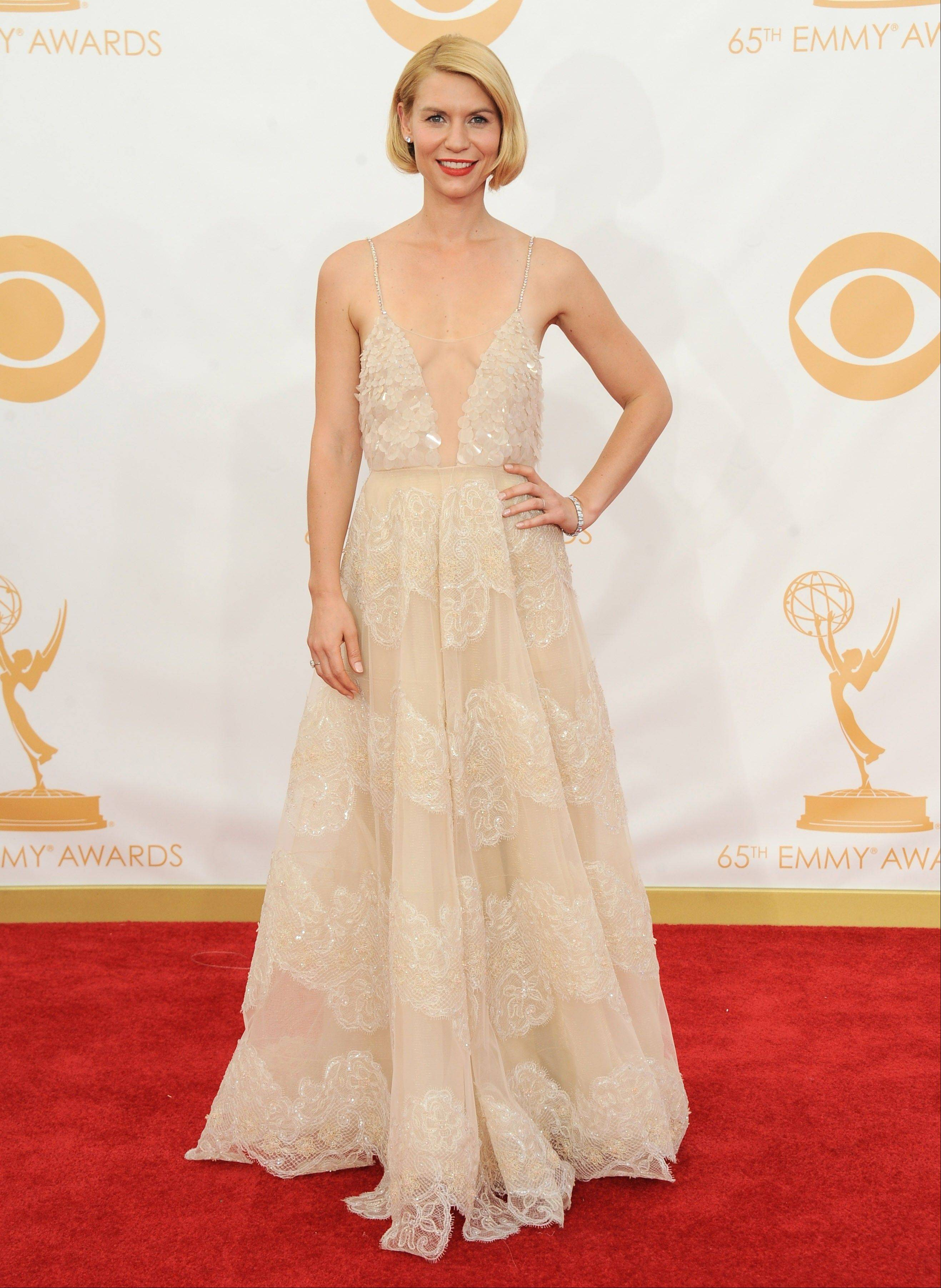 Claire Danes, wearing Atelier Versace, arrives at the 65th Primetime Emmy Awards at Nokia Theatre on Sunday in Los Angeles.