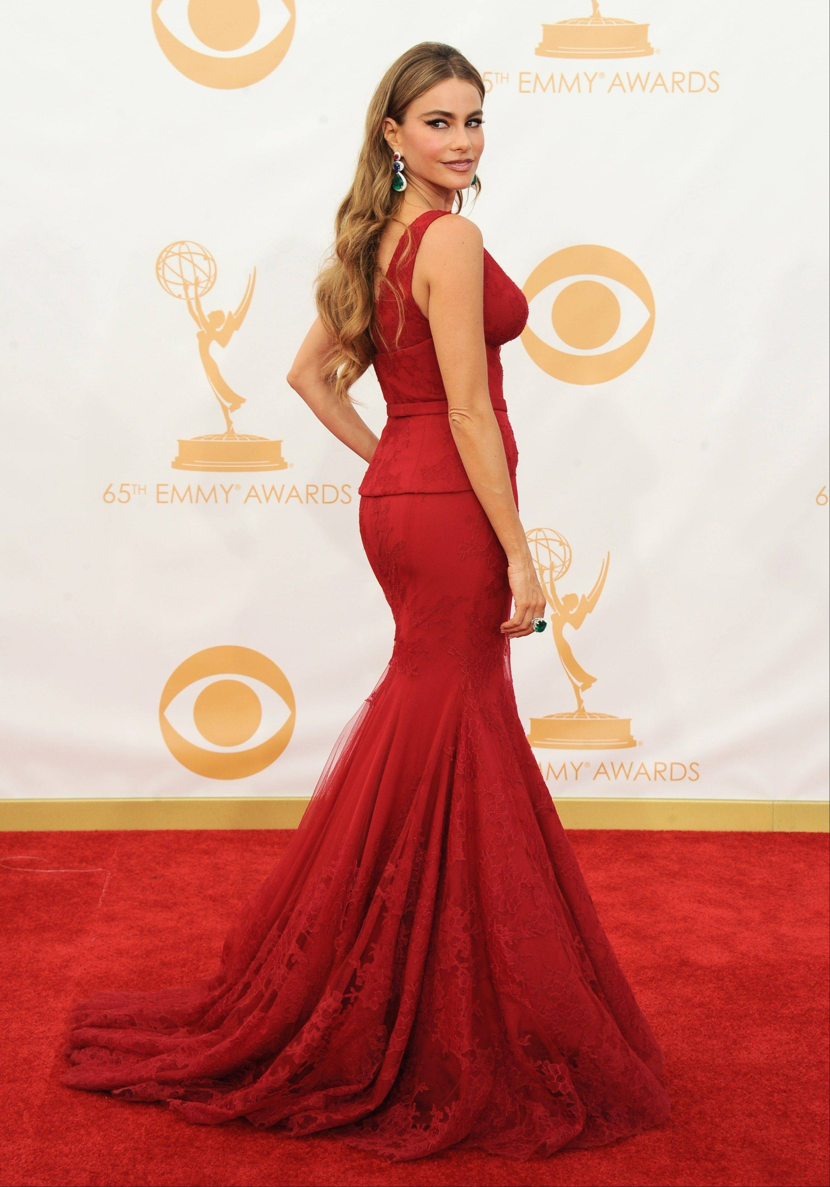 Sofia Vergara, wearing Vera Wang, arrives at the 65th Primetime Emmy Awards at Nokia Theatre on Sunday in Los Angeles.