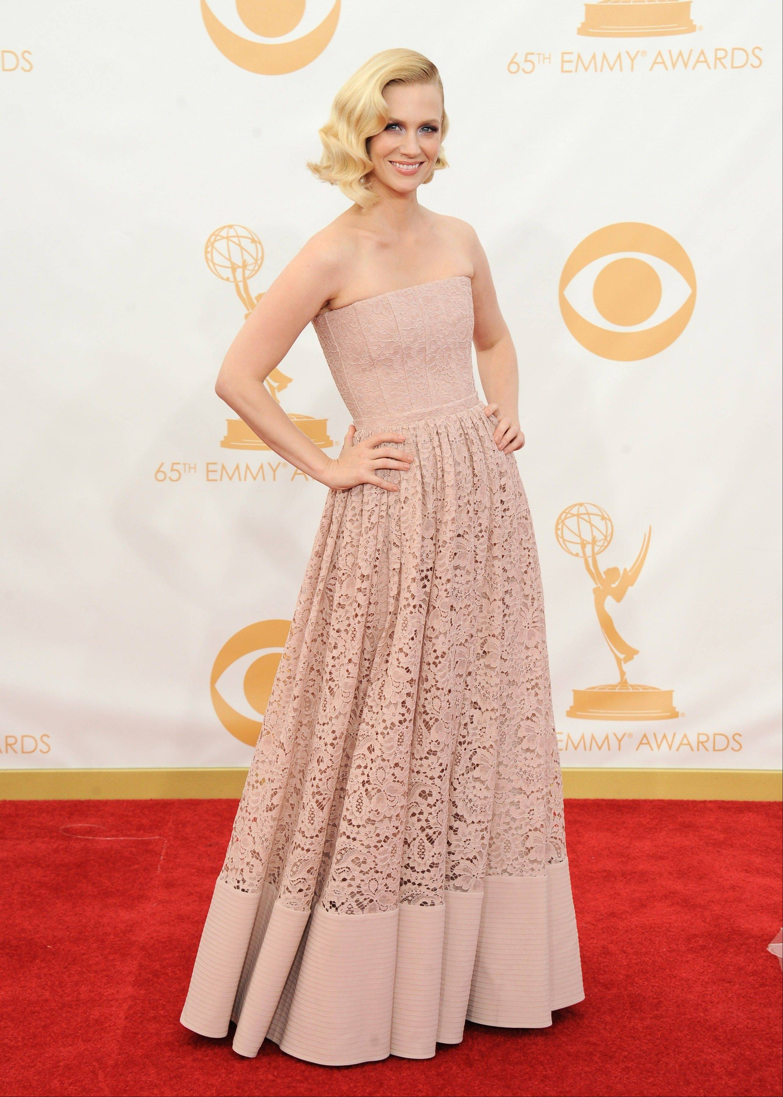 January Jones, wearing Givenchy, arrives at the 65th Primetime Emmy Awards at Nokia Theatre on Sunday in Los Angeles.