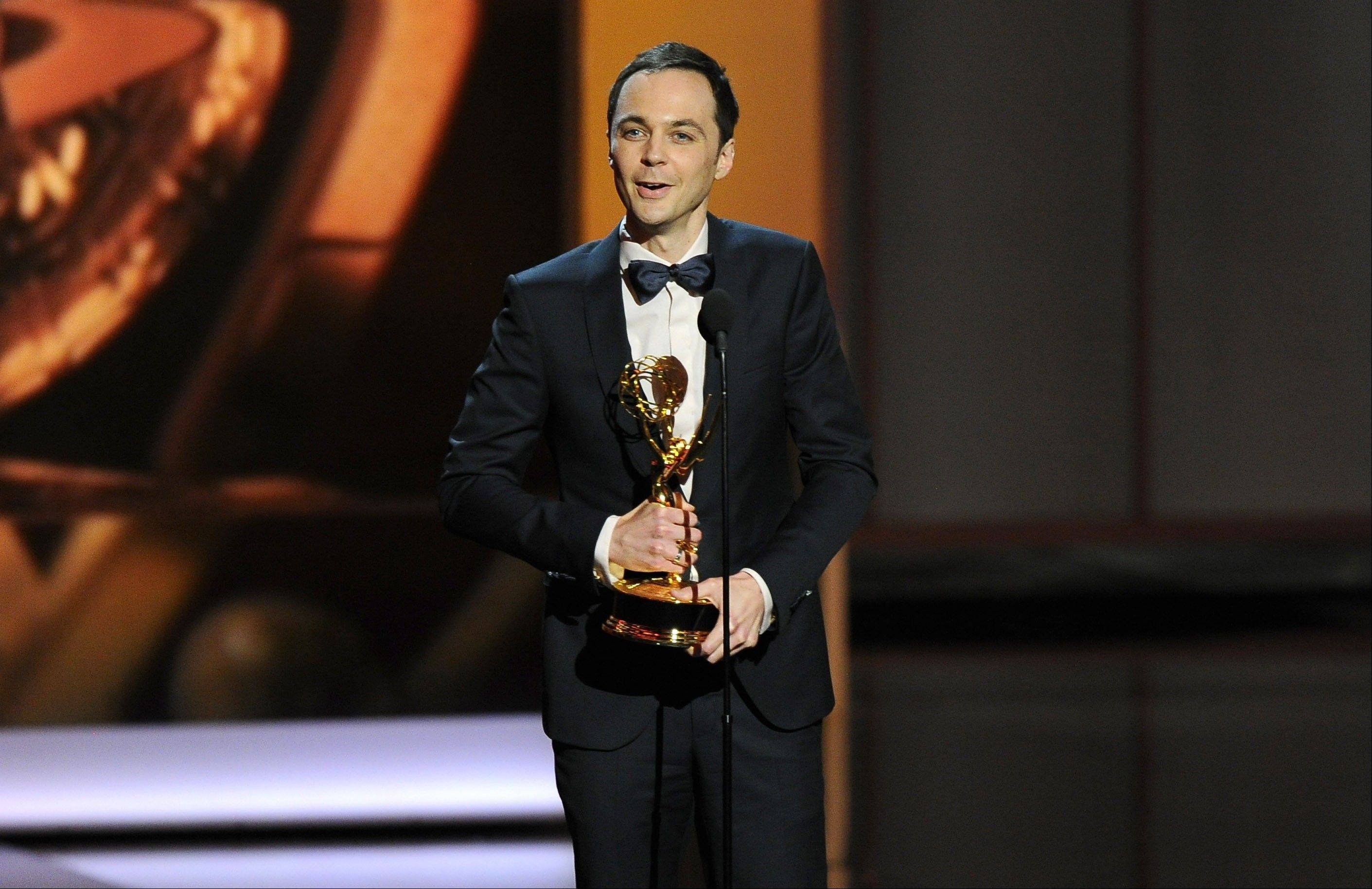 "Jim Parsons accepts the award for outstanding lead actor in a comedy series for his role on ""The Big Bang Theory"" at the 65th Primetime Emmy Awards at Nokia Theatre on Sunday in Los Angeles."