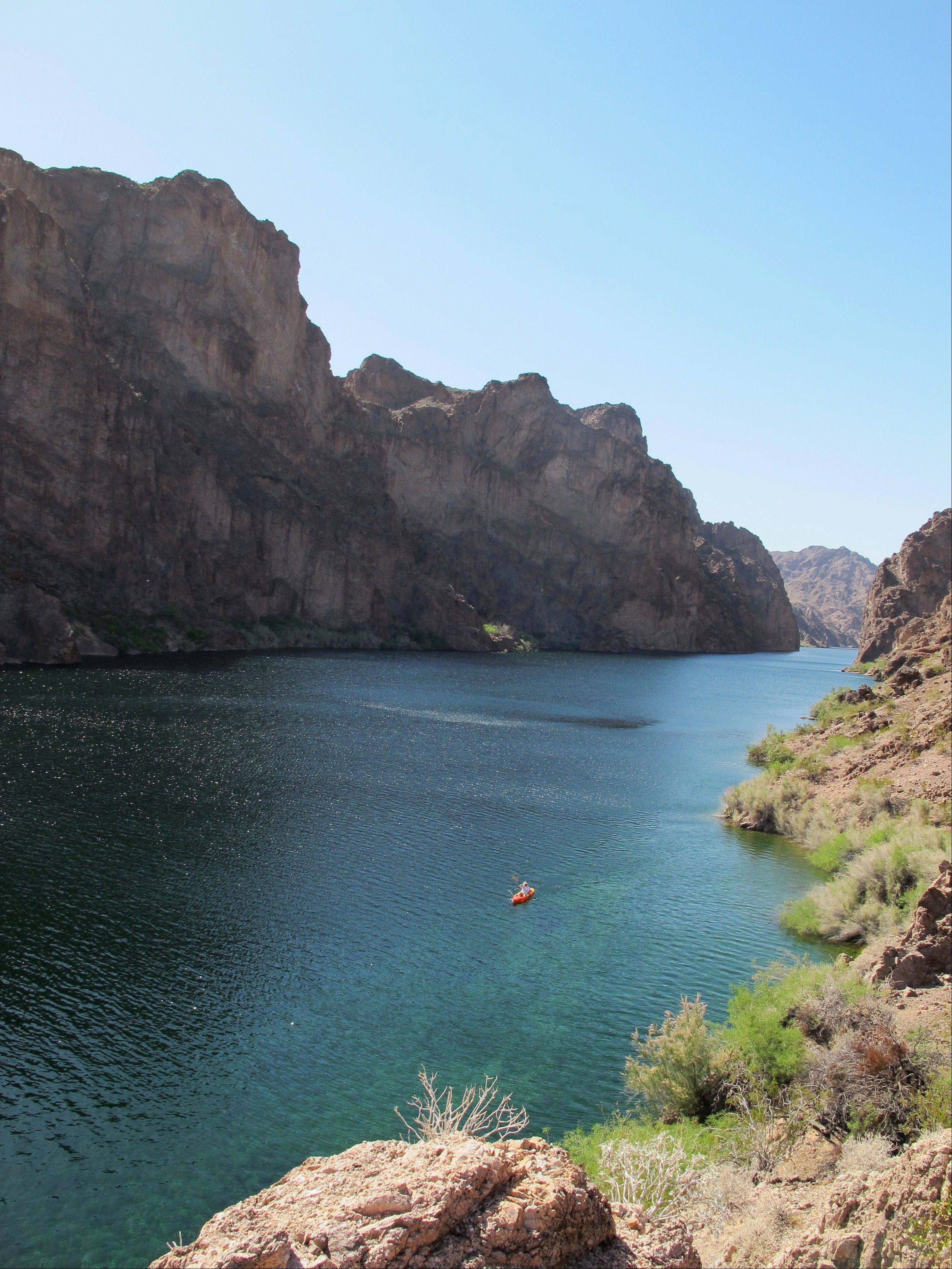 A kayak in the Black Canyon on the Arizona side of the Colorado River.