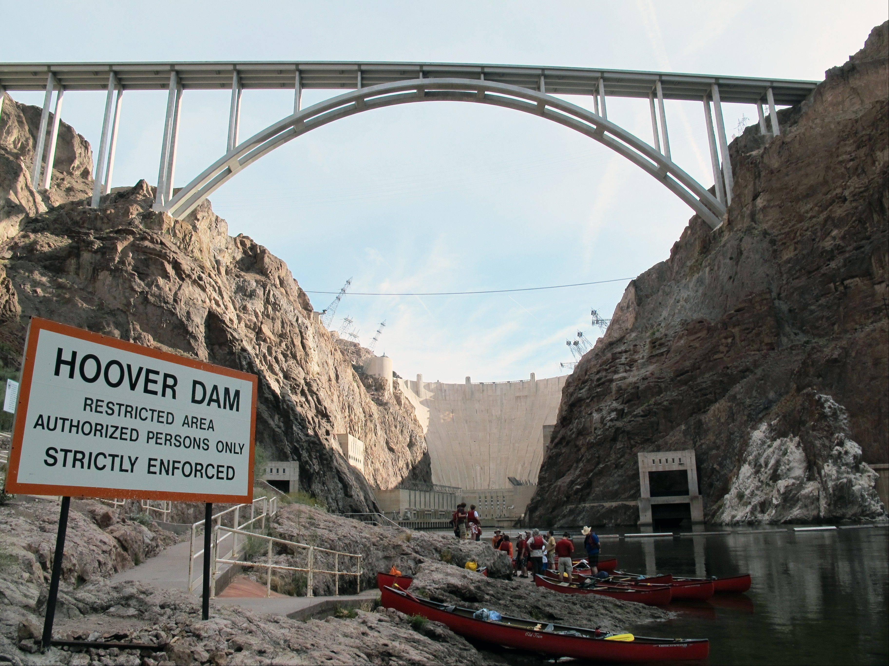 The put-in area at the base of the Hoover Dam, outside of Boulder City, Nev., for trips on the Colorado River by kayak, canoe and raft.