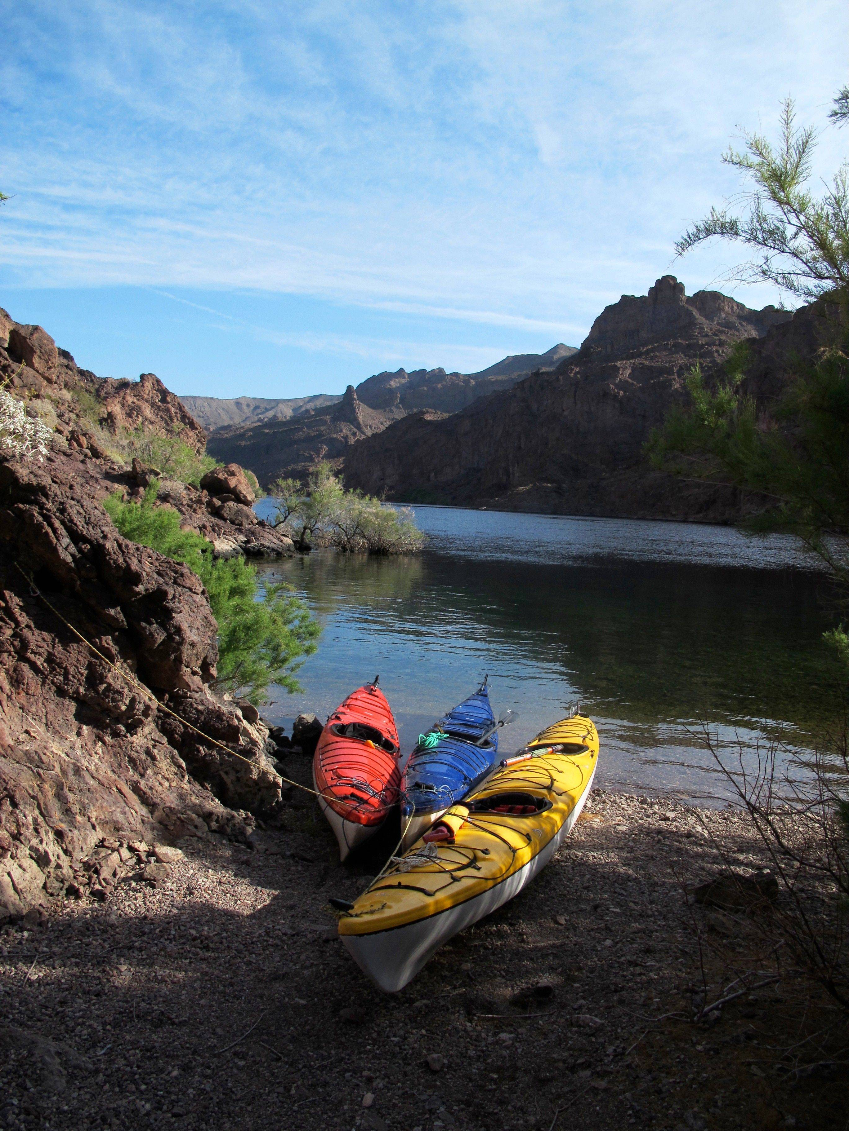 Kayaks pulled up on the shore of the Colorado River in Nevada. The put-in area is near the Hoover Dam, a federal security zone, so watercraft must be transported by an authorized livery service, whether you bring your own gear, rent boats or sign up for a guided trip.