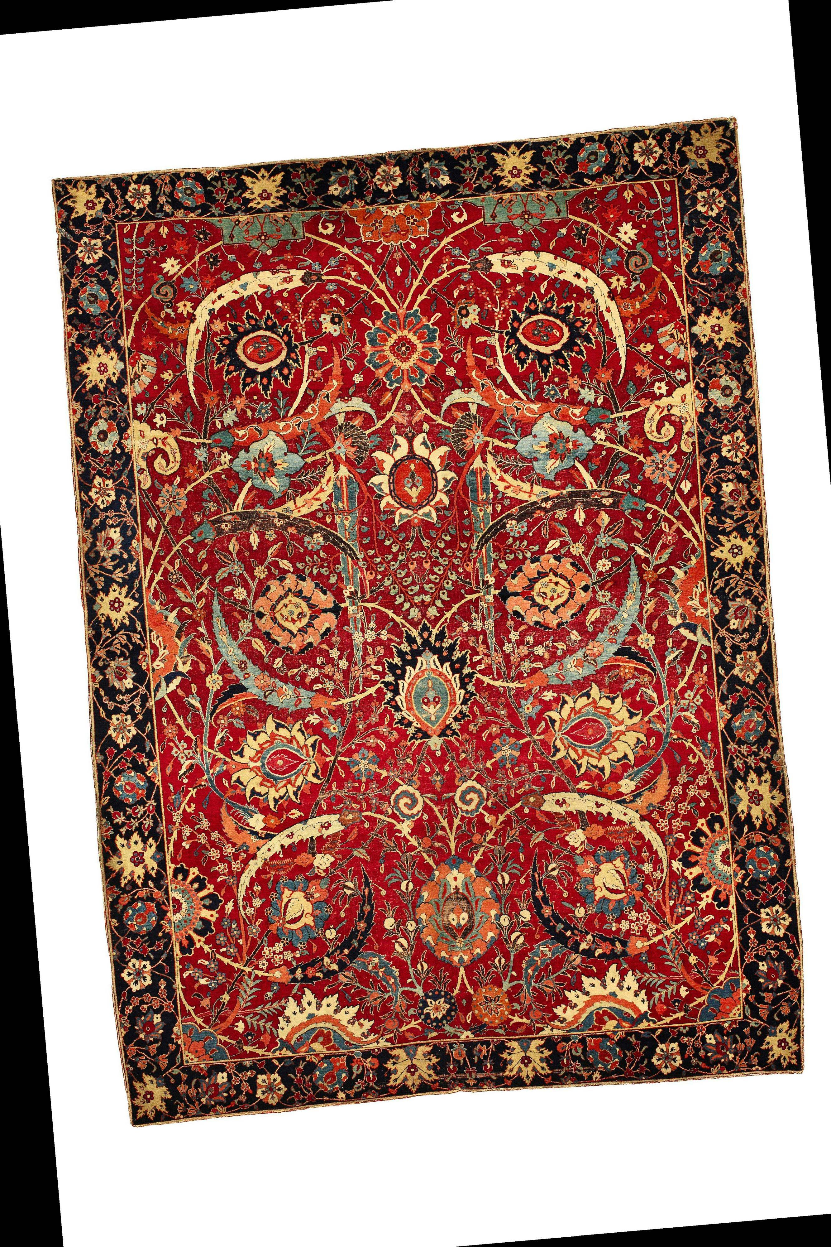 The 17th century Clark Sickle-Leaf carpet, about 8 feet 9 inches by 6 feet 5 inches, probably from Kirman, South Persia, was sold by the Corcoran Gallery of Art to an anonymous buyer. The stunned crowd at Sotheby's in New York burst into a rare round of applause when the museum-quality Persian carpet reached a record-setting price of $33.76 million in June.