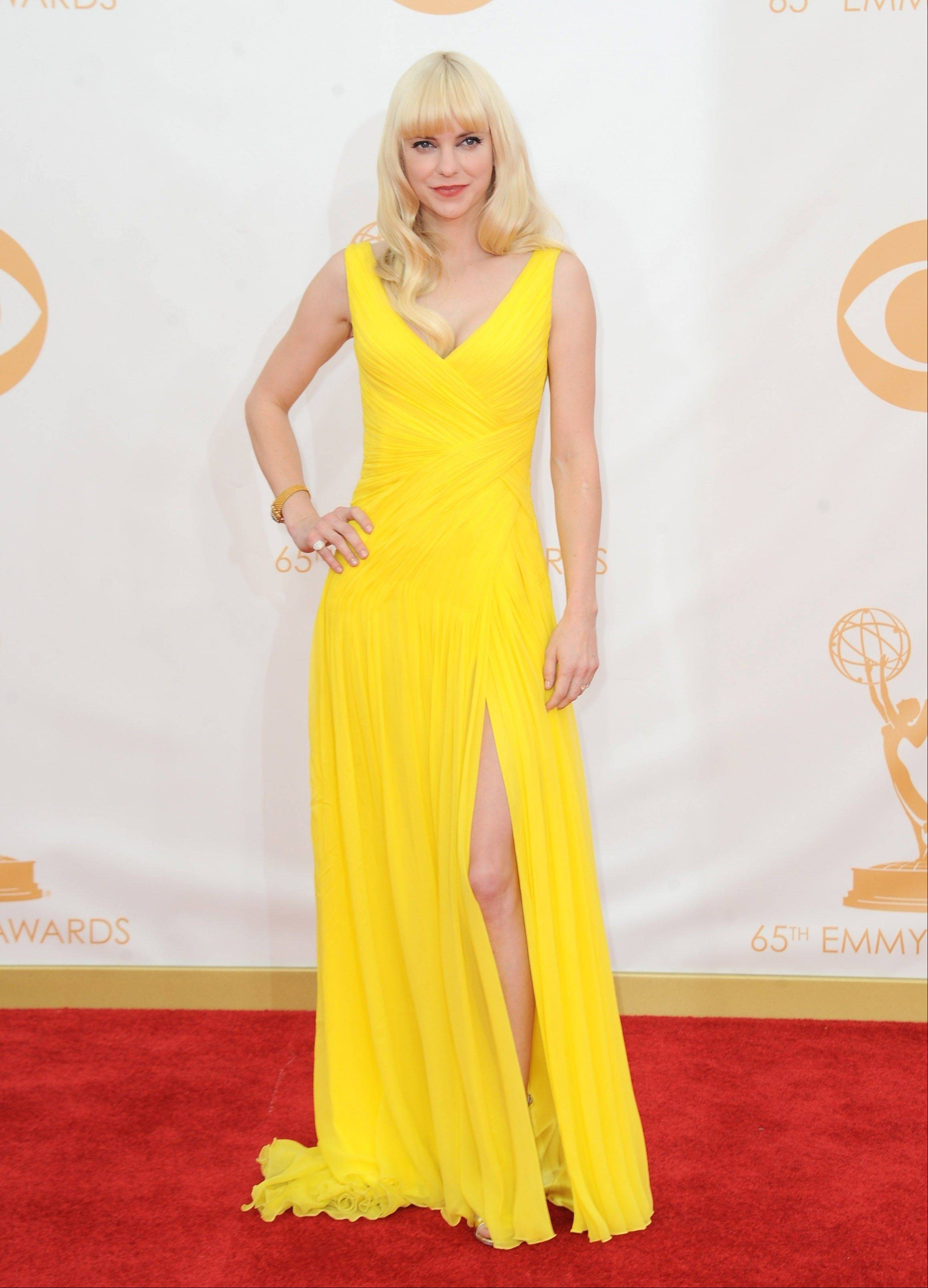 Anna Faris arrives at the 65th Primetime Emmy Awards at Nokia Theatre on Sunday Sept. 22, 2013, in Los Angeles.