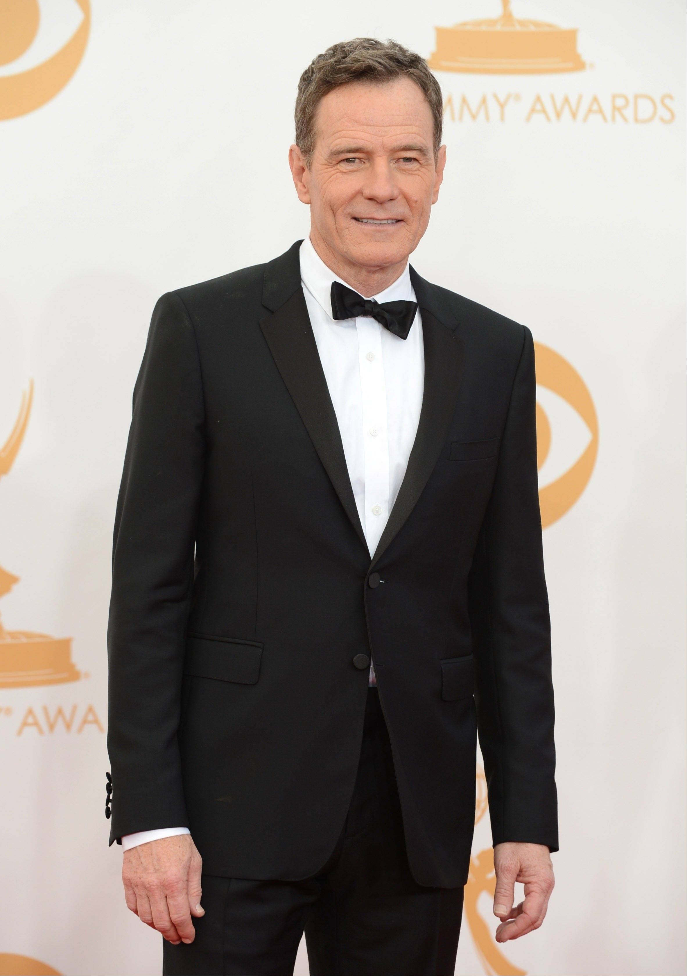 "Bryan Cranston of ""Breaking Bad"" arrives at the 65th Primetime Emmy Awards at Nokia Theatre on Sunday Sept. 22, 2013, in Los Angeles."