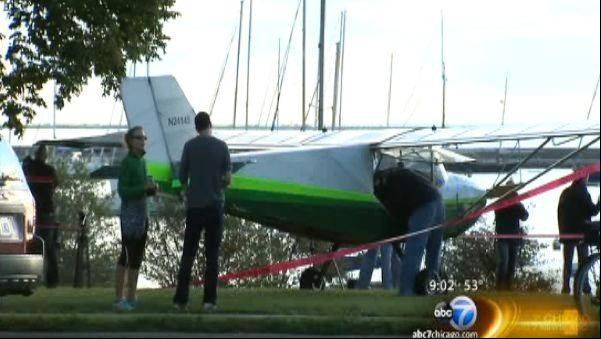 A pilot from Lombard escaped injury early Sunday when mechanical problems with his small airplane forced him to make an emergency landing on Lake Shore Drive near Buckingham Fountain.