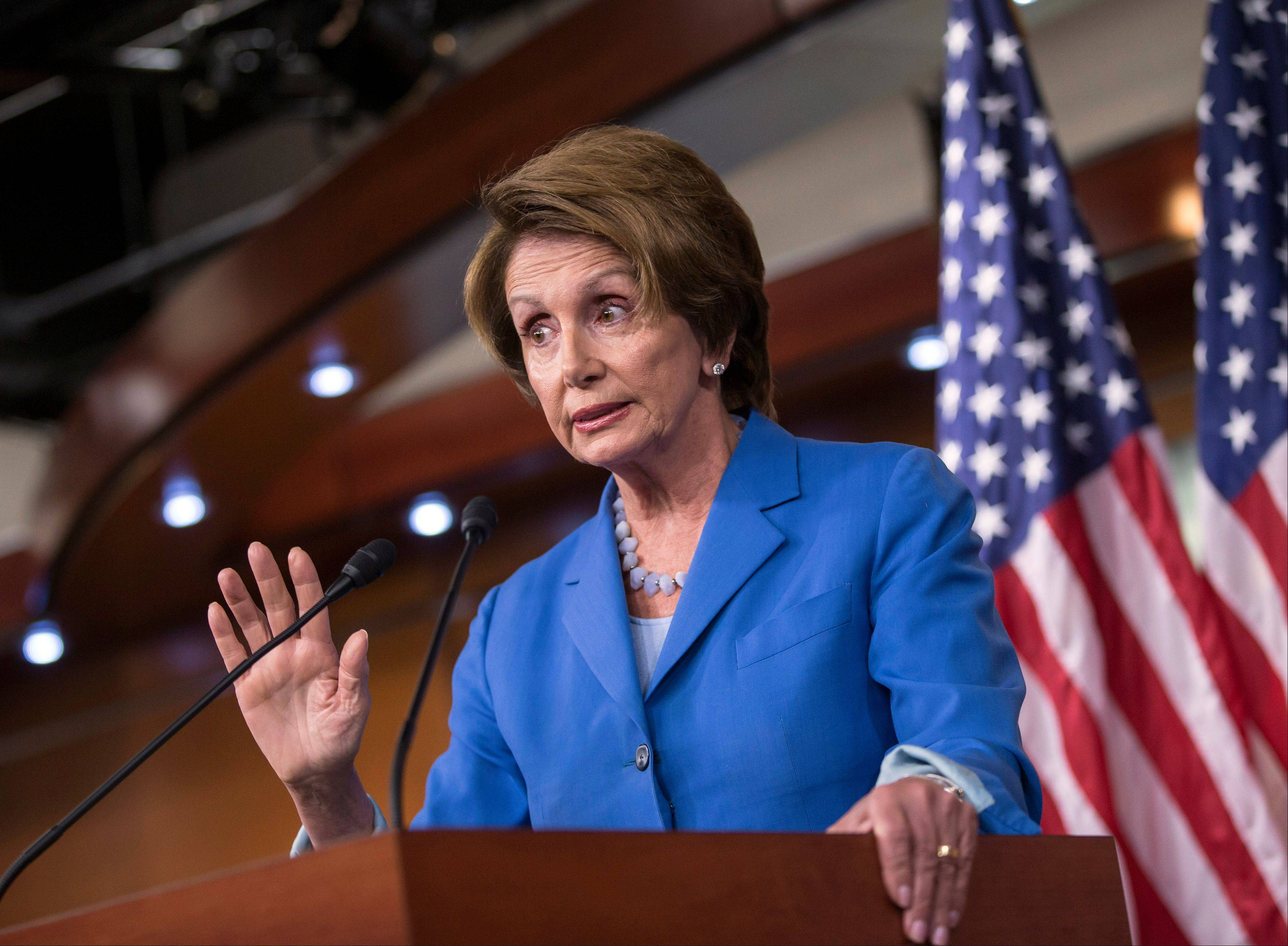 House Minority Leader Nancy Pelosi, D-Calif., speaks with reporters about the looming deadline to fund the government and the fight among House Republicans on a strategy on Capitol Hill in Washington.