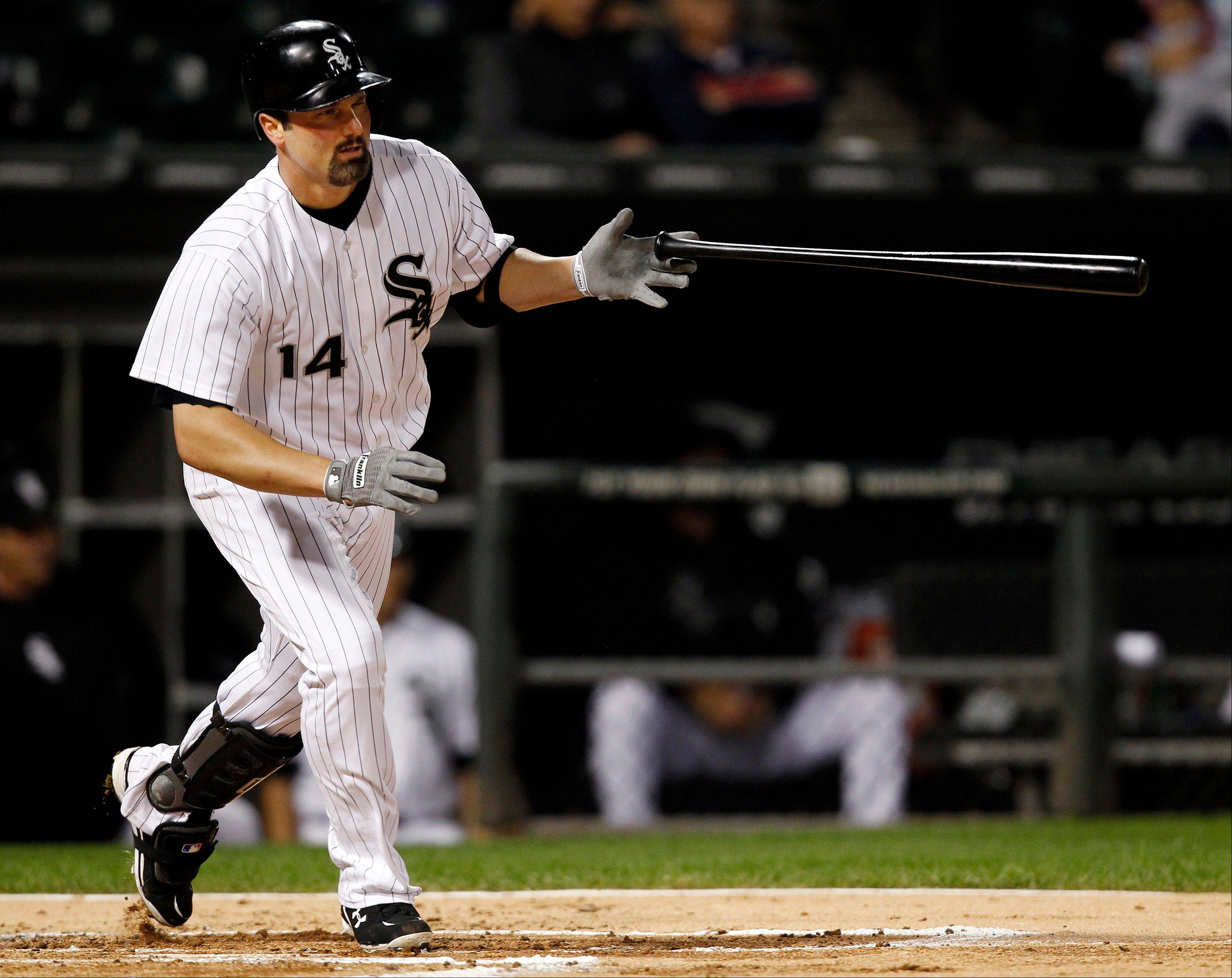 Paul Konerko hits a single in Monday night�s White Sox victory over Toronto at U.S. Cellular Field.