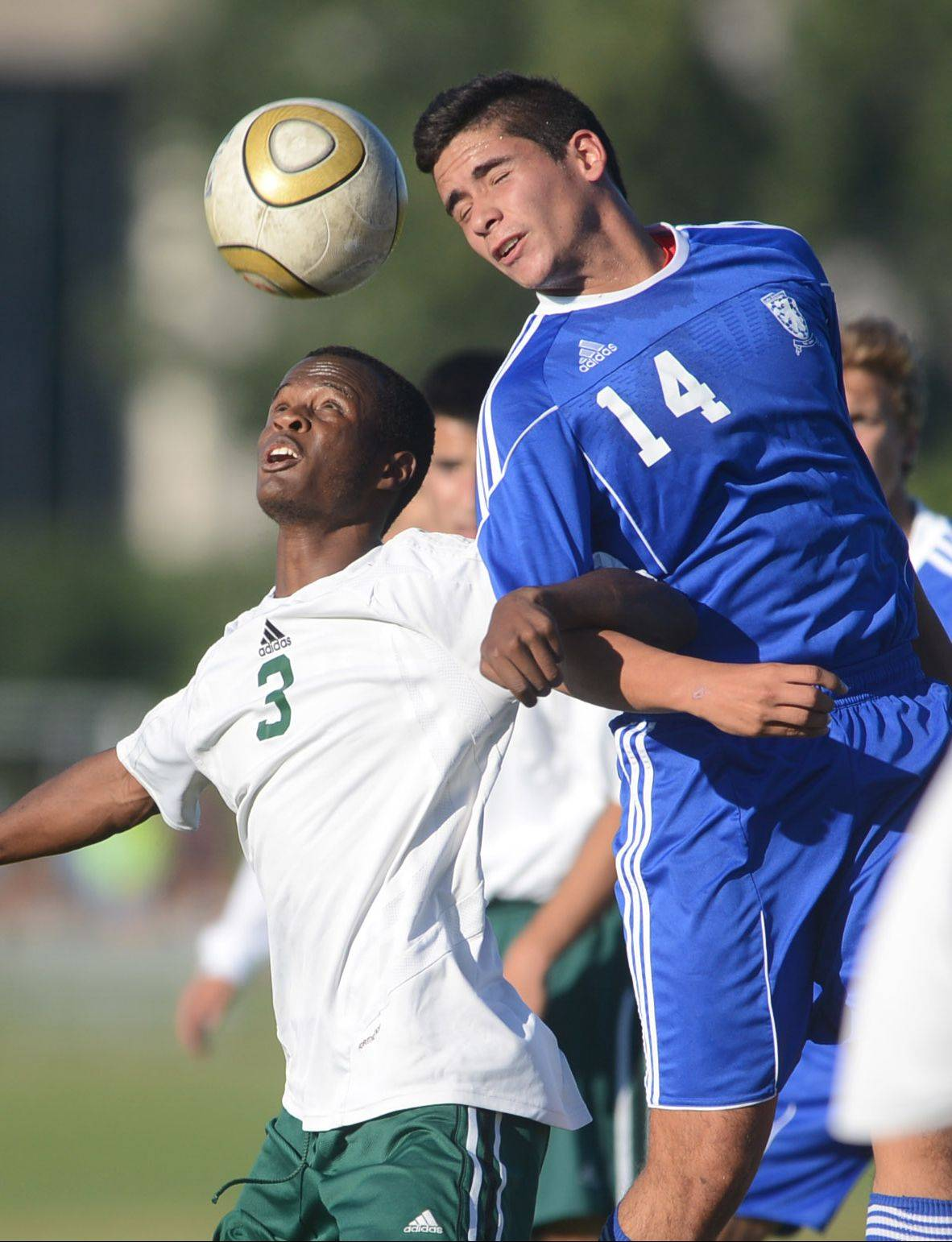 Stevenson's Kamal Starks (3) keeps a sharp eye on the ball under pressure from Lake Zurich's Miguel Hernandez on Monday.