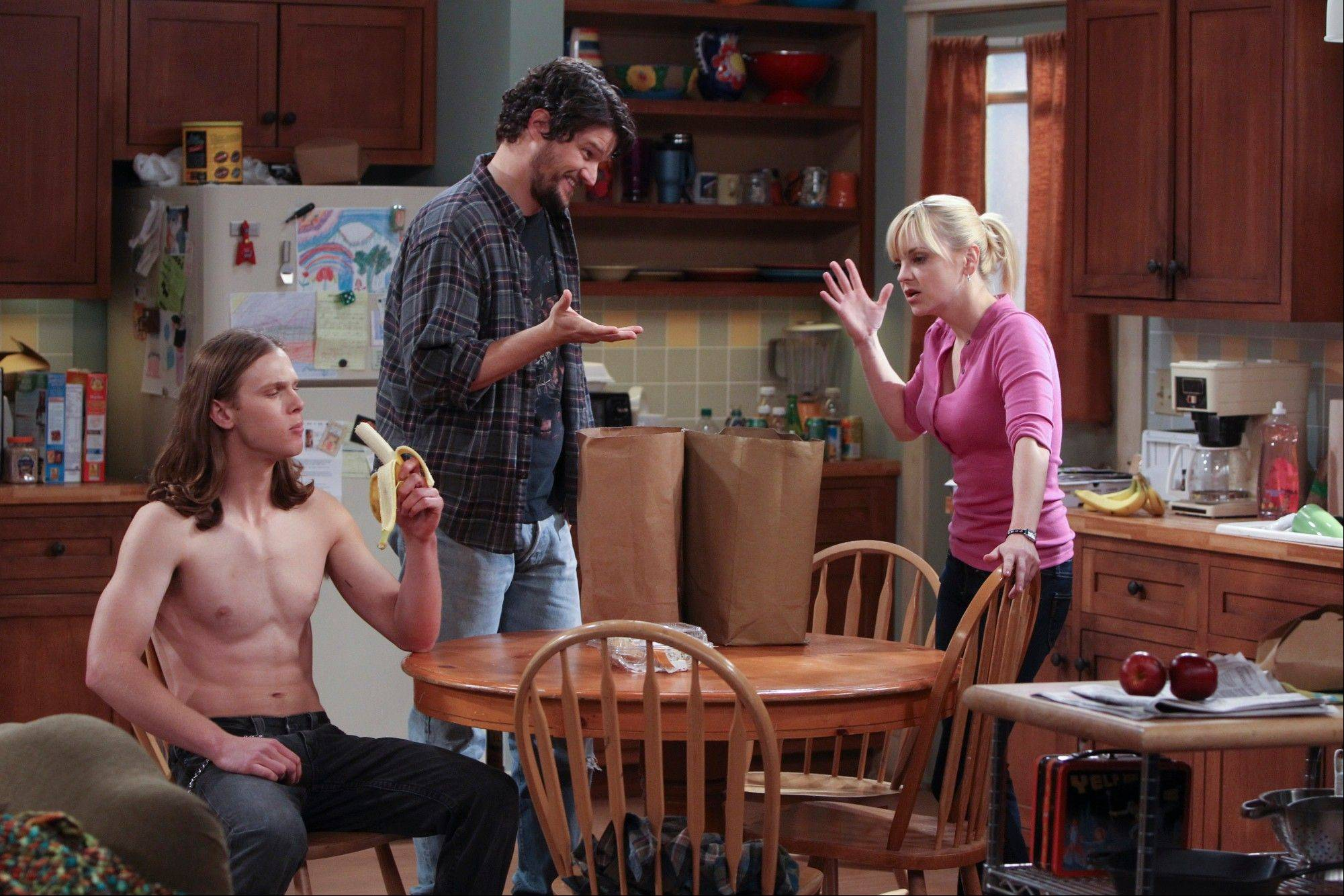 "Spencer Daniels, left, Matt Jones, and Anna Faris share the spotlight in CBS' ""Mom."""