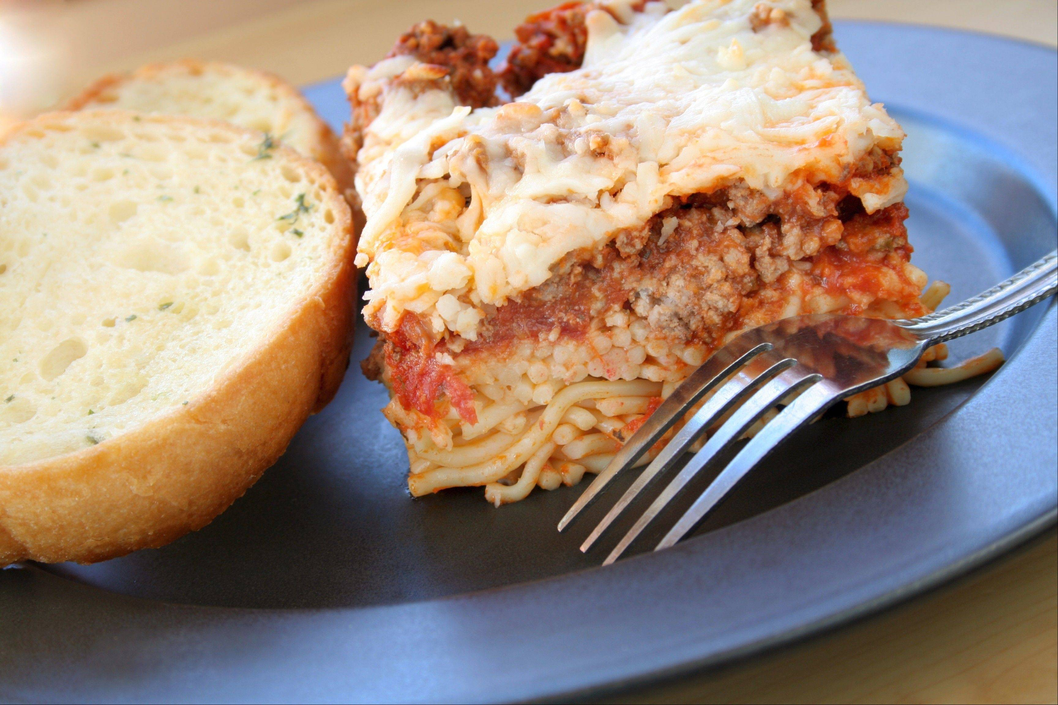 Lean ground beef and low-sodium ketchup go into Don Mauer's healthier version of baked spaghetti.