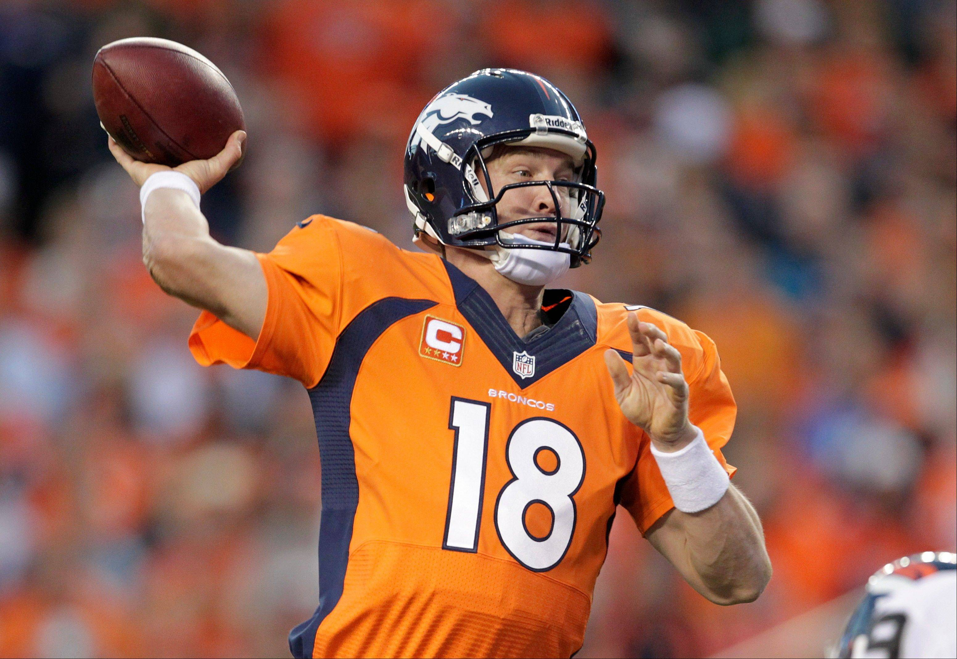 Broncos quarterback Peyton Manning has thrown 12 touchdown passes and no interceptions through the first three games this season.