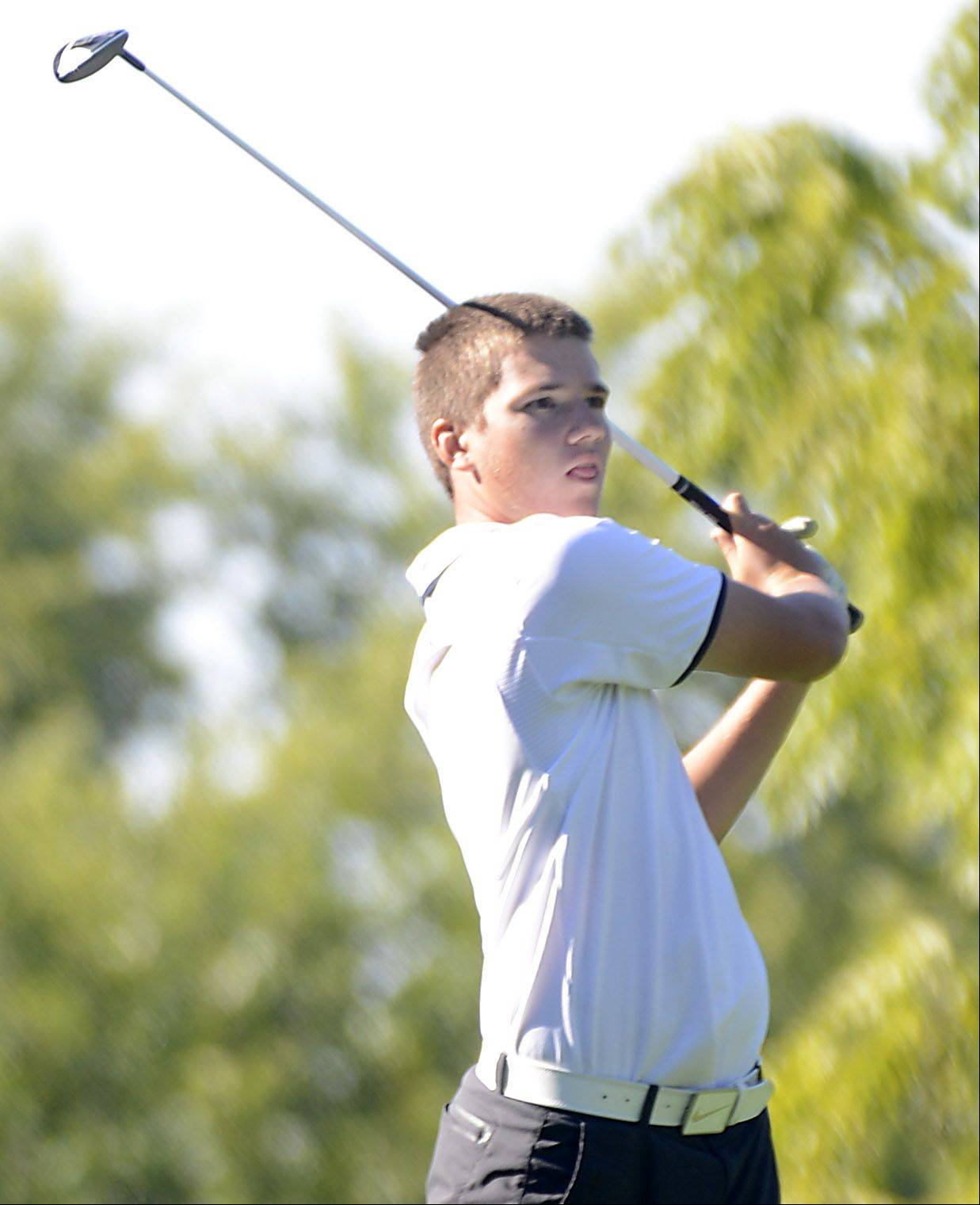 Lake Park's John Duggan tees off Monday at the Elgin boys golf invitational at Bartlett Golf Club.