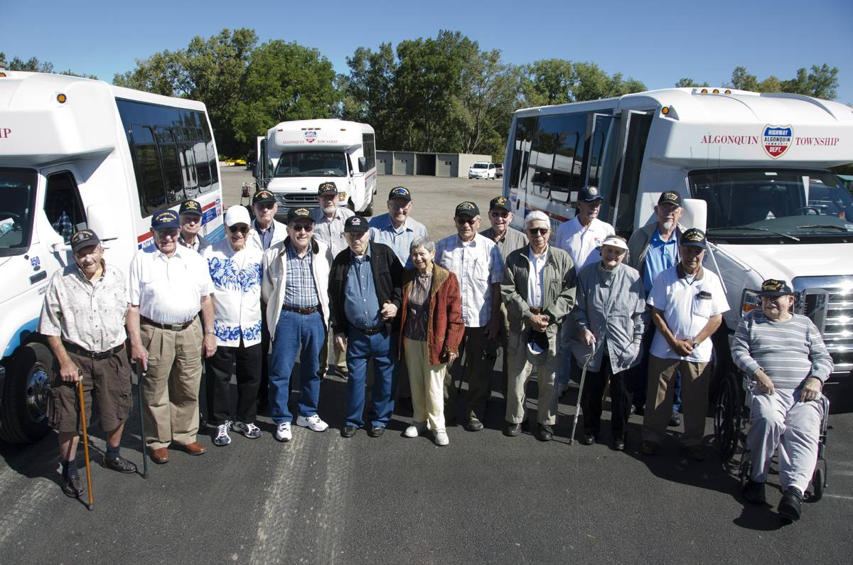 Group photo of Honor Flight WWII veterans. Front Row (L-R): Wendell Statler, Robert Evans, Julius T. Arenberg, Jr., Norbert F. Orzech, Sidney Cohen, Shirley Cohen, Leonard E. Messineo, Mary W. Foresta, Attilio A. Foresta, and Donald W. Mergler; and back row: Edward J. Schutter, Gerald R. Reagle, David N. Roche, Stanley J. Jenkner, Morrie Bishaf, John B. Badamo, John H. Yarnall, and Joseph L. Vokaty