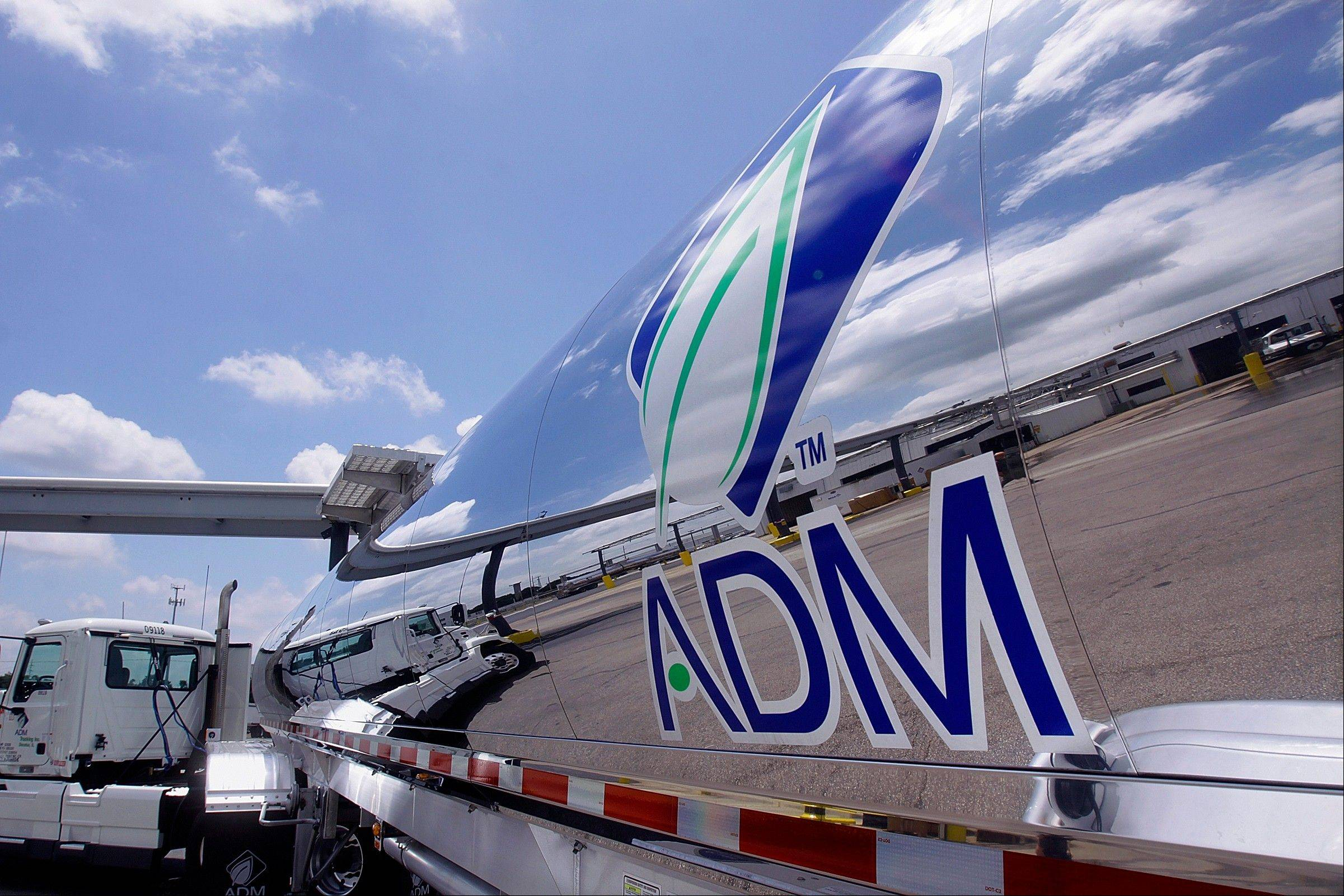 A tanker truck at the ADM plant in Decatur sports a company logo. The agribusiness giant said that after 44 years in Decatur, it is looking for a new location for its headquarters.