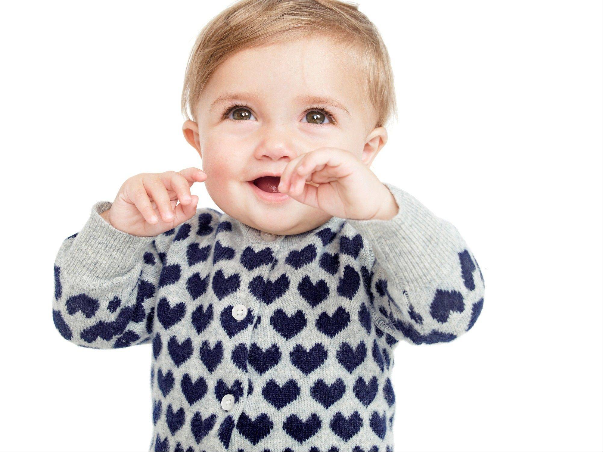 A gray cashmere sweater with blue hearts is just one option from J. Crew's new baby collection.