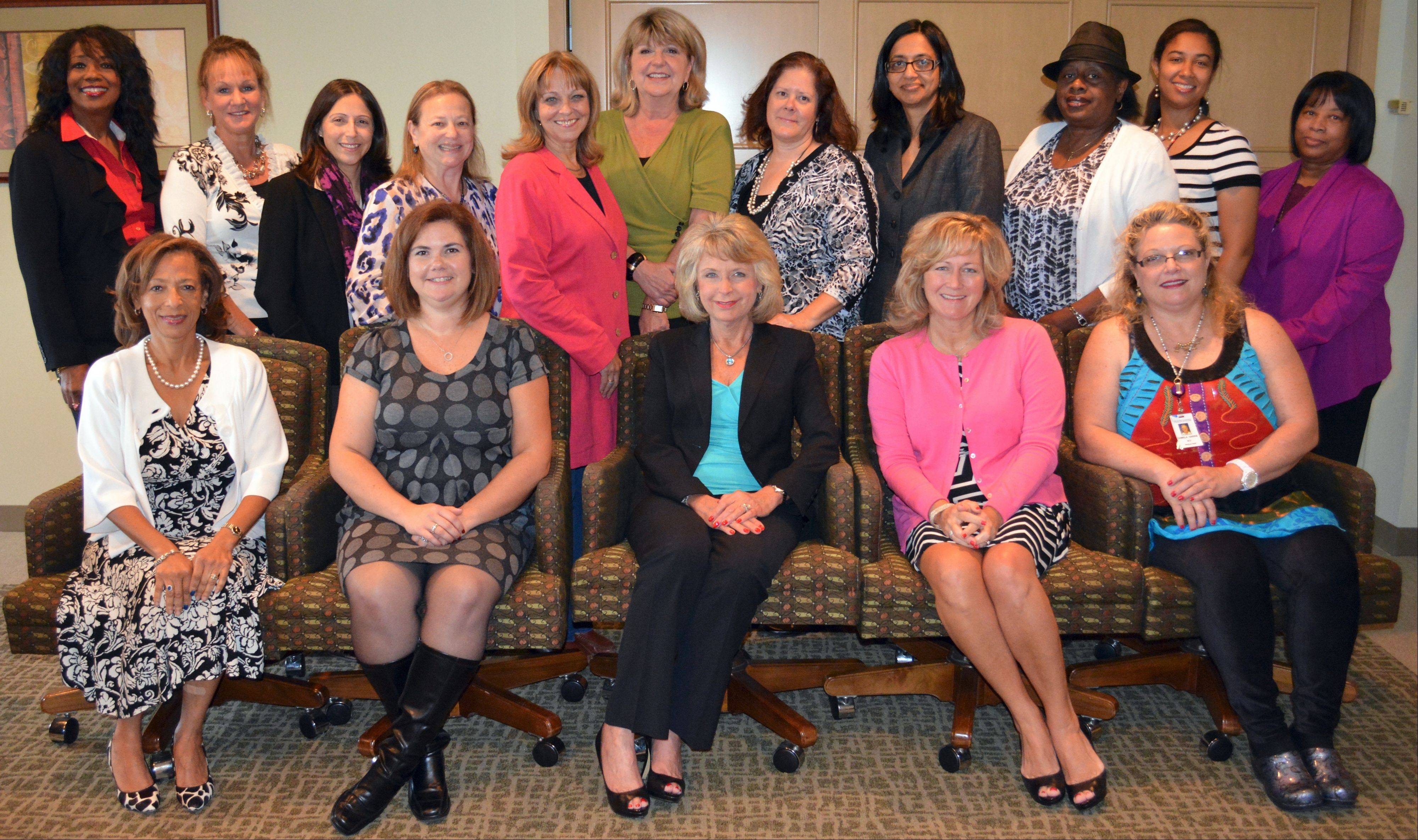 Healthy Woman Advisory Council, from left, back: Patricia Jones, Jeanne Merlo, Myra Gaytan-Morales, Deborah Goldberg, Beth Ragsdale, Connie Meadie, Sandy Marquardt, Dr. Geetha Reddy, Mary Ross-Cunningham, Dr. Christina Conolly-Wilson and Beverly Harvey. Front: Dr. Deborah Smart, Brenda Montes, Barbara Martin, Colleen Zawaski and Dr. Camela Harris.