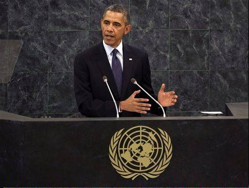 U.S. President Barack Obama addresses the 68th session of the United Nations General Assembly, Tuesday, Sept. 24, 2013.