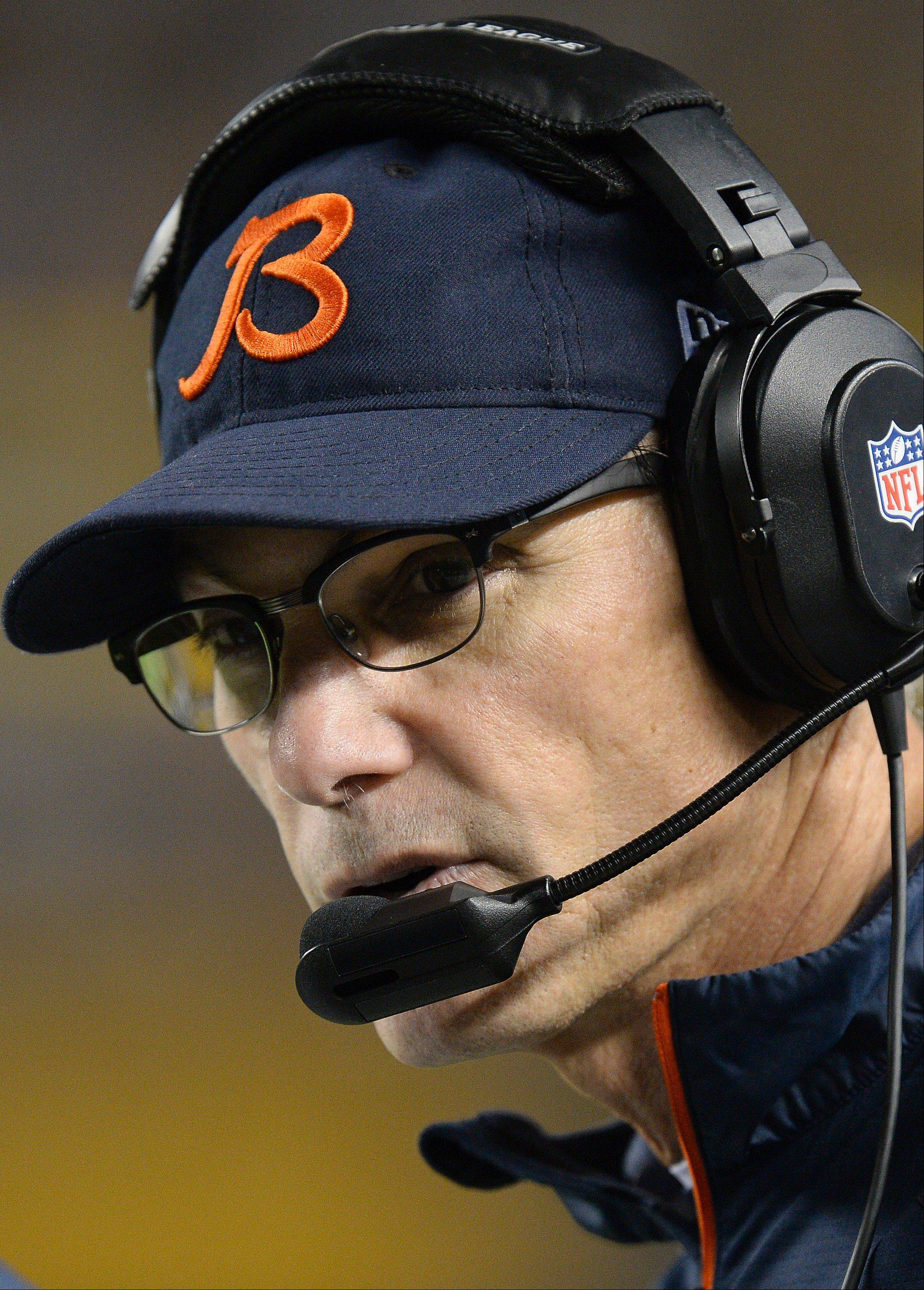Chicago Bears head coach Marc Trestman on the sideline during the first quarter of an NFL football game against the Pittsburgh Steelers on Sunday, Sept. 22, 2013, in Pittsburgh. The Bears won 40-23. (AP Photo/Don Wright)