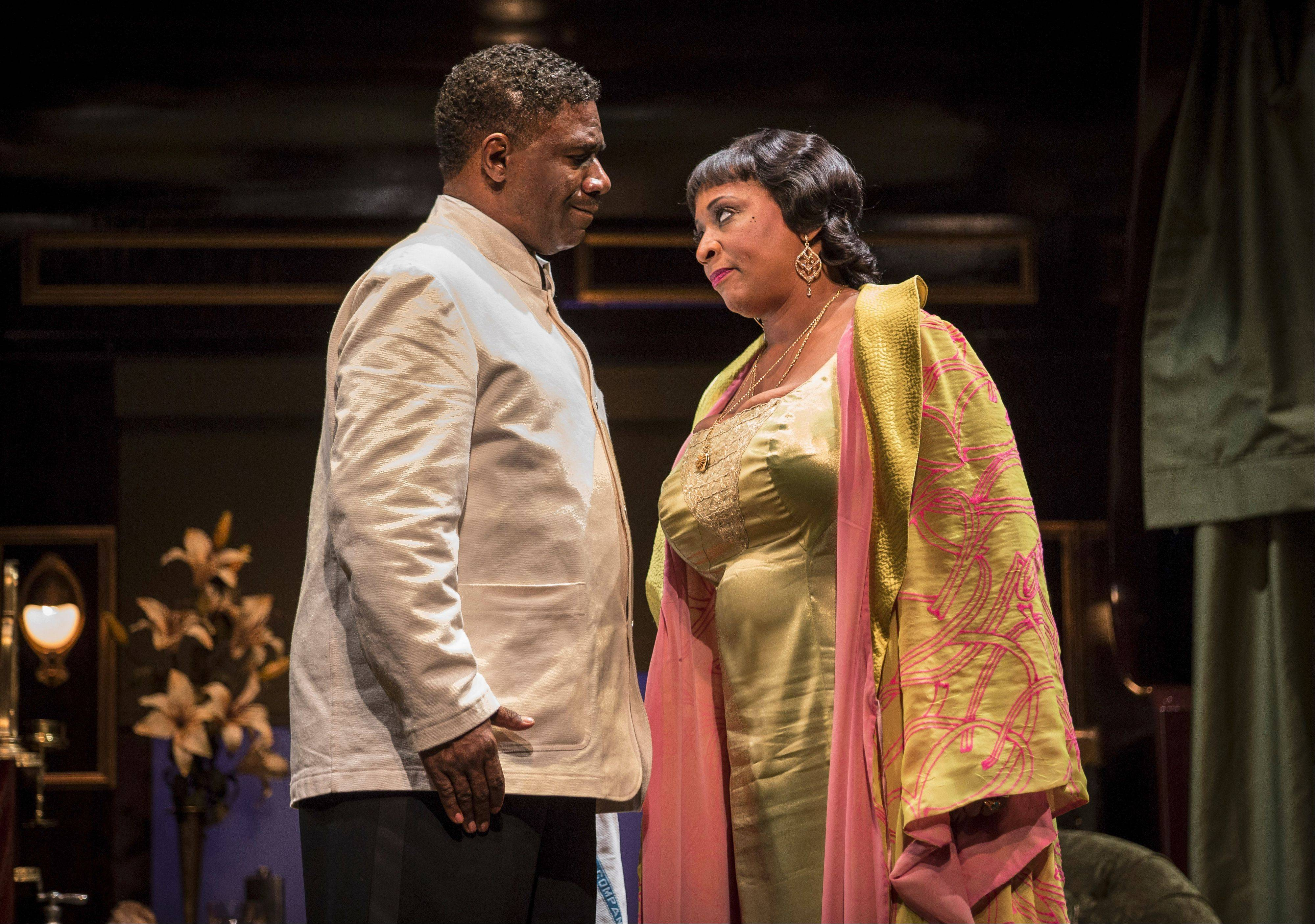 "Blues singer Sister Juba (E. Faye Butler) confronts Sylvester Sykes (Cleavant Derricks) in Cheryl L. West's 2012 drama ""Pullman Porter Blues"" at the Goodman Theatre in Chicago."