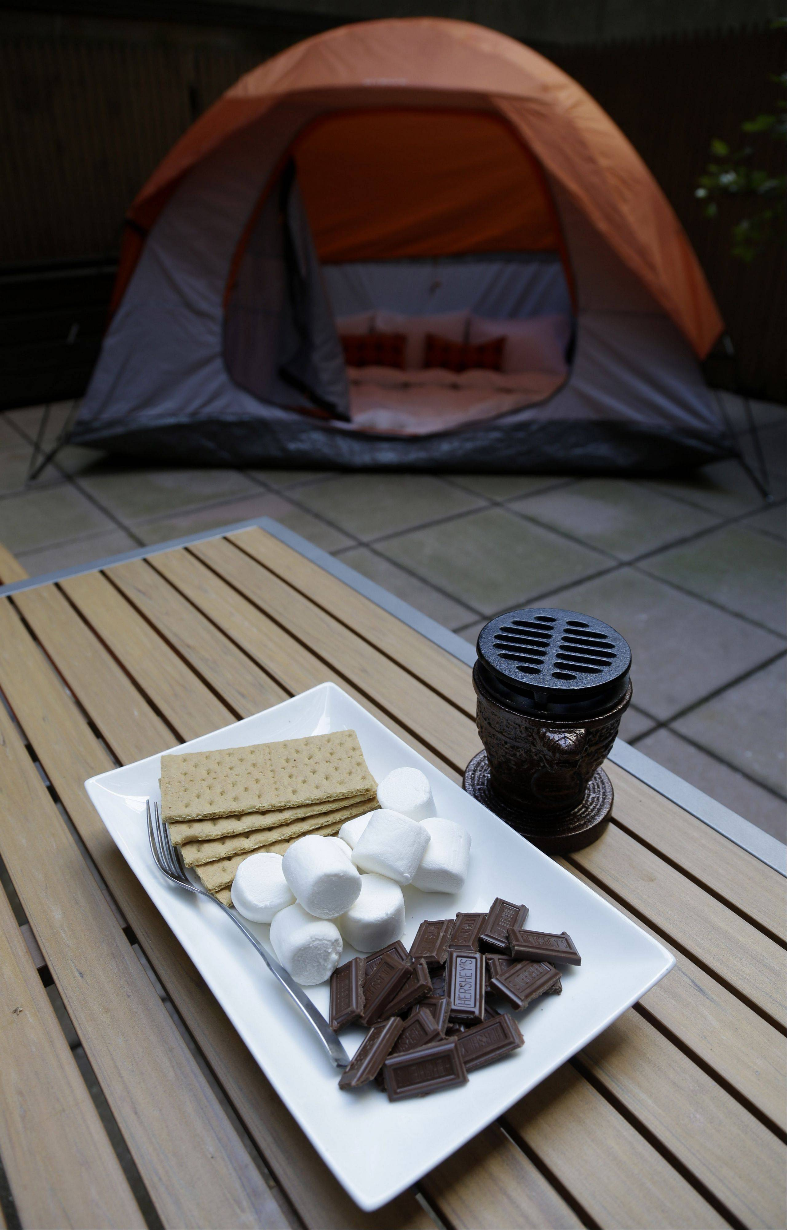 Along with a tent on your patio, smores are an option at the Affina Hotel in New York.