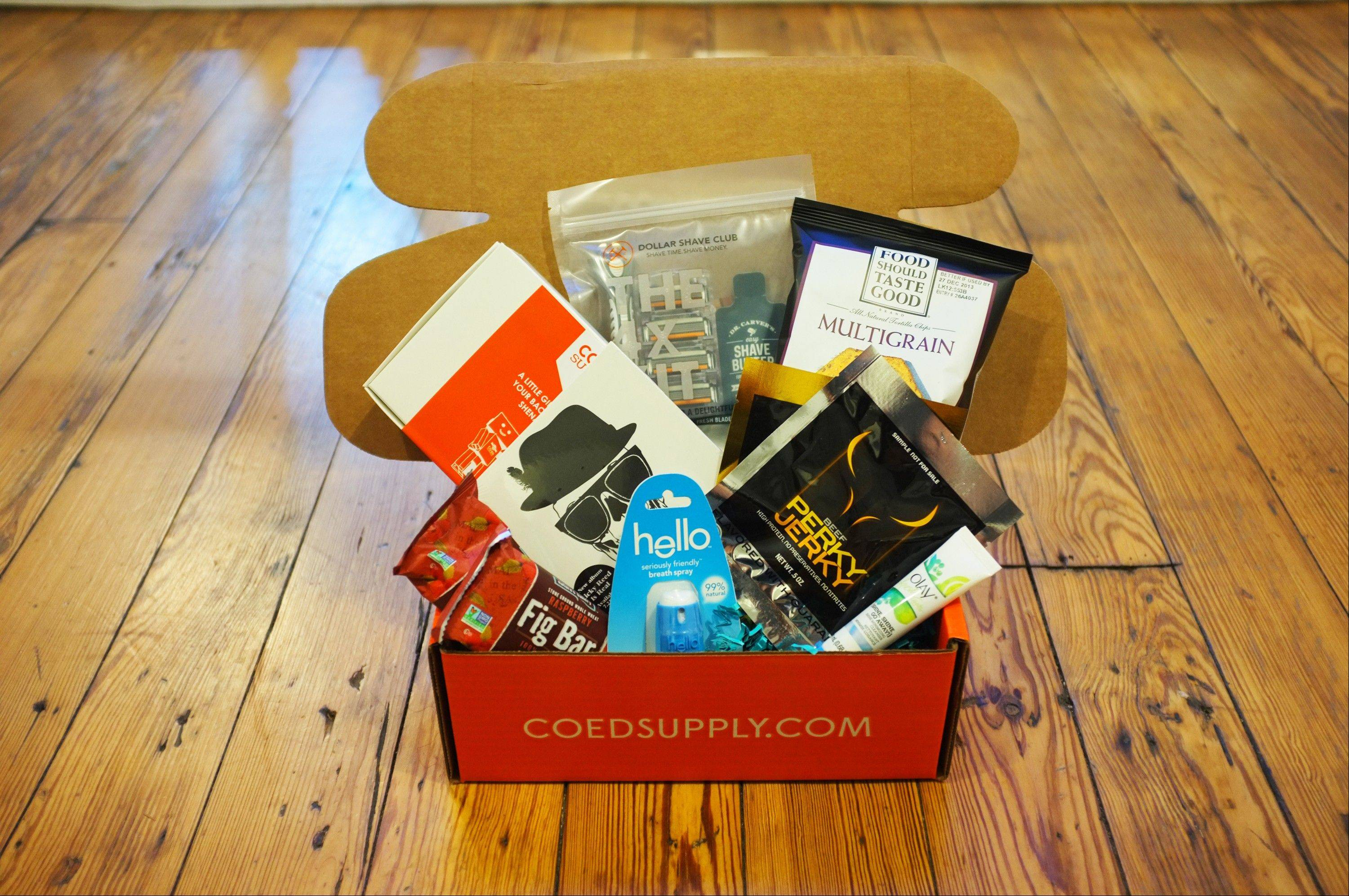 As part of a care package service designed for college students, CoedSupply.com will ship health-food snacks, personal care supplies, entertainment items and more across the country.