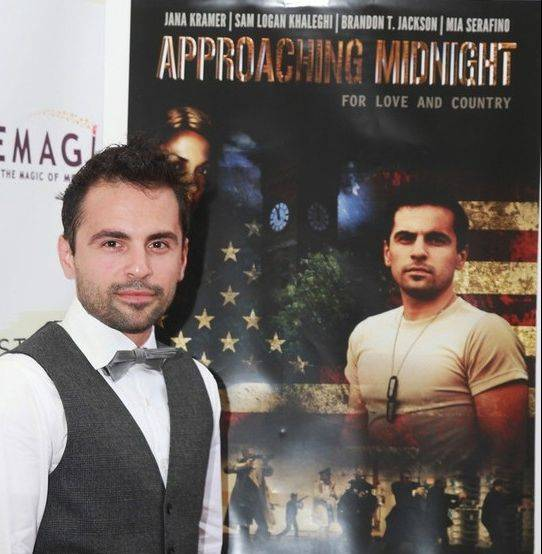 "Former Mount Prospect resident Sam Logan Khaleghi wrote, produced, directed and stars in the war-themed ""Approaching Midnight,"" premiering at the Wilmette Theatre Friday night."