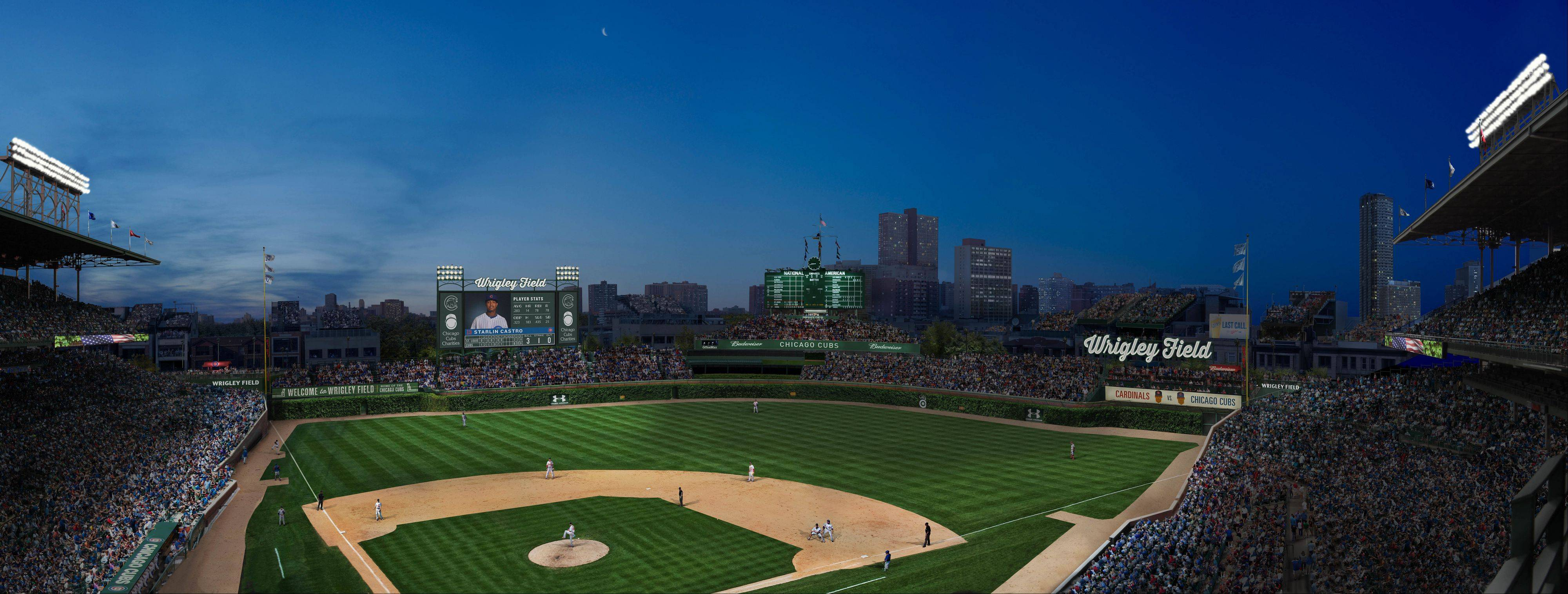 This artist's rendering shows how Wrigley Field might look by the time its 100th anniversary rolls around next season.