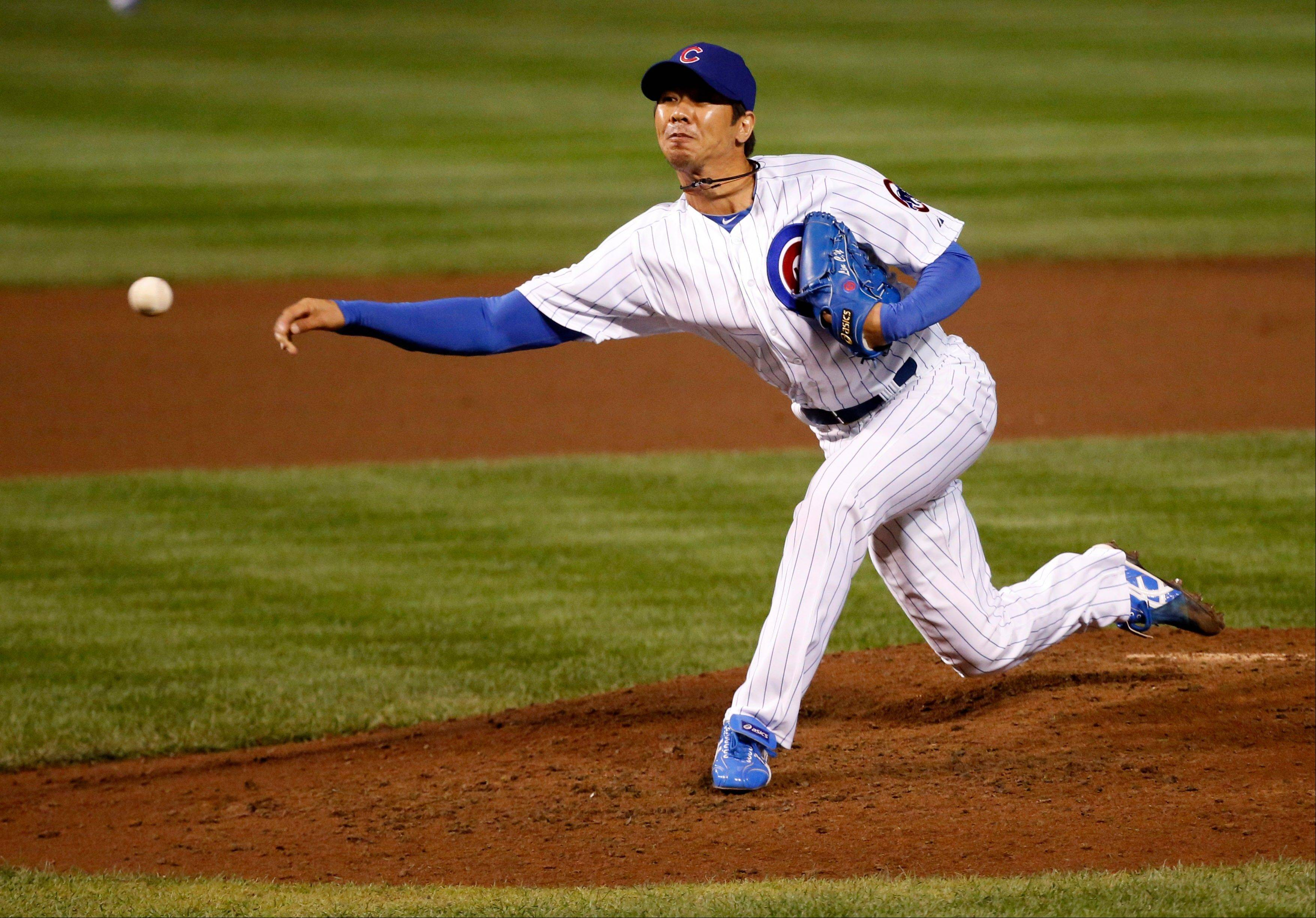 Cubs relief pitcher Chang-Yong Lim delivers during the fifth inning of a baseball game against the Pittsburgh Pirates Tuesday, Sept. 24, 2013, in Chicago.