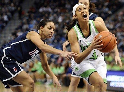 Skylar Diggins, right, and Notre Dame beat UConn for the Big East women's tournament title last March in Hartford, Conn.