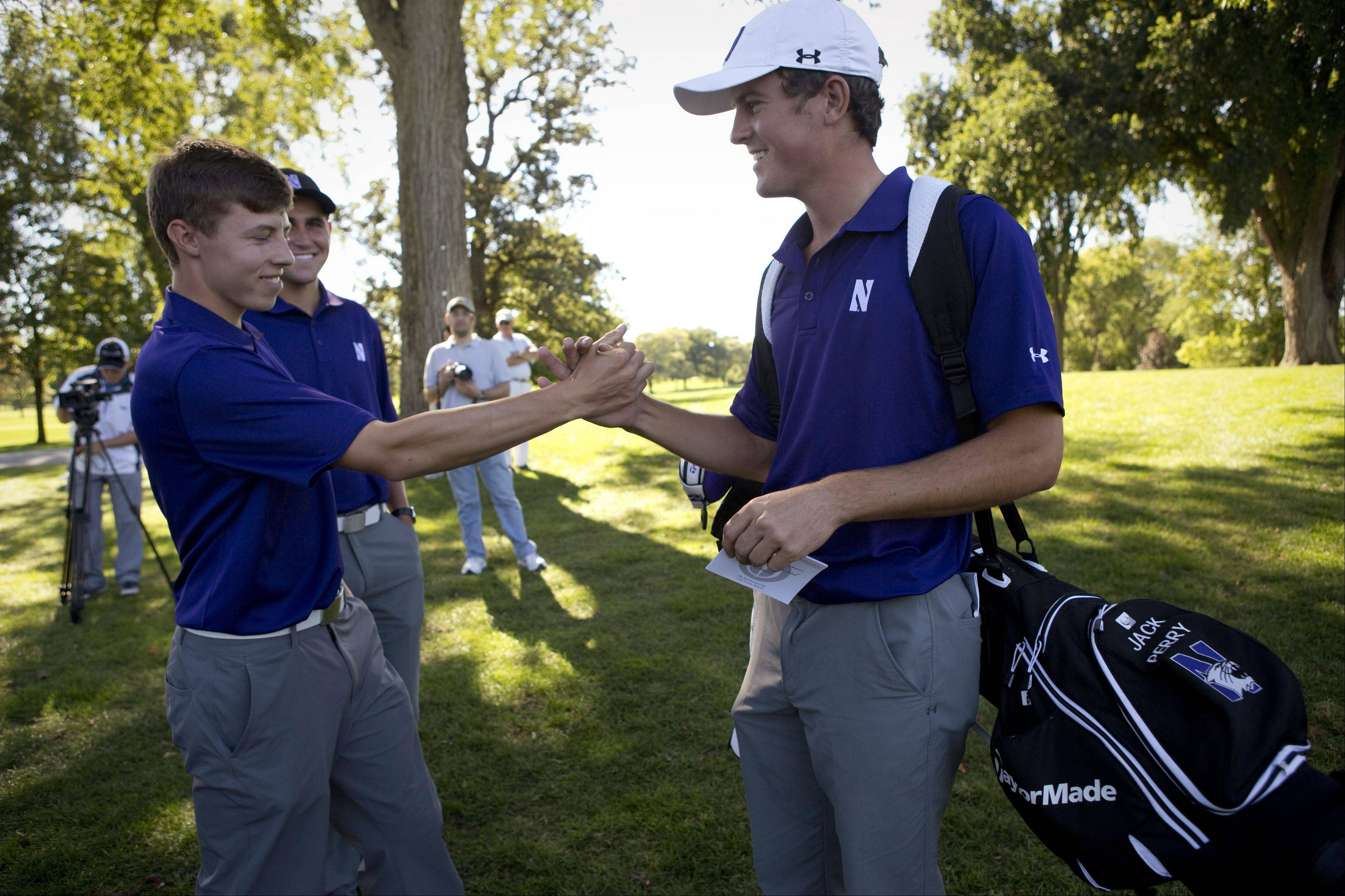 Northwestern freshman Matt Fitzpatrick (left), the 2013 U.S. Amateur champion, and senior Jack Perry (right), a 2012-13 All-American, led Northwestern at the Windon Memorial Classic with a third-place and second-place finish, respectively, at Knollwood Golf Club in Lake Forest.