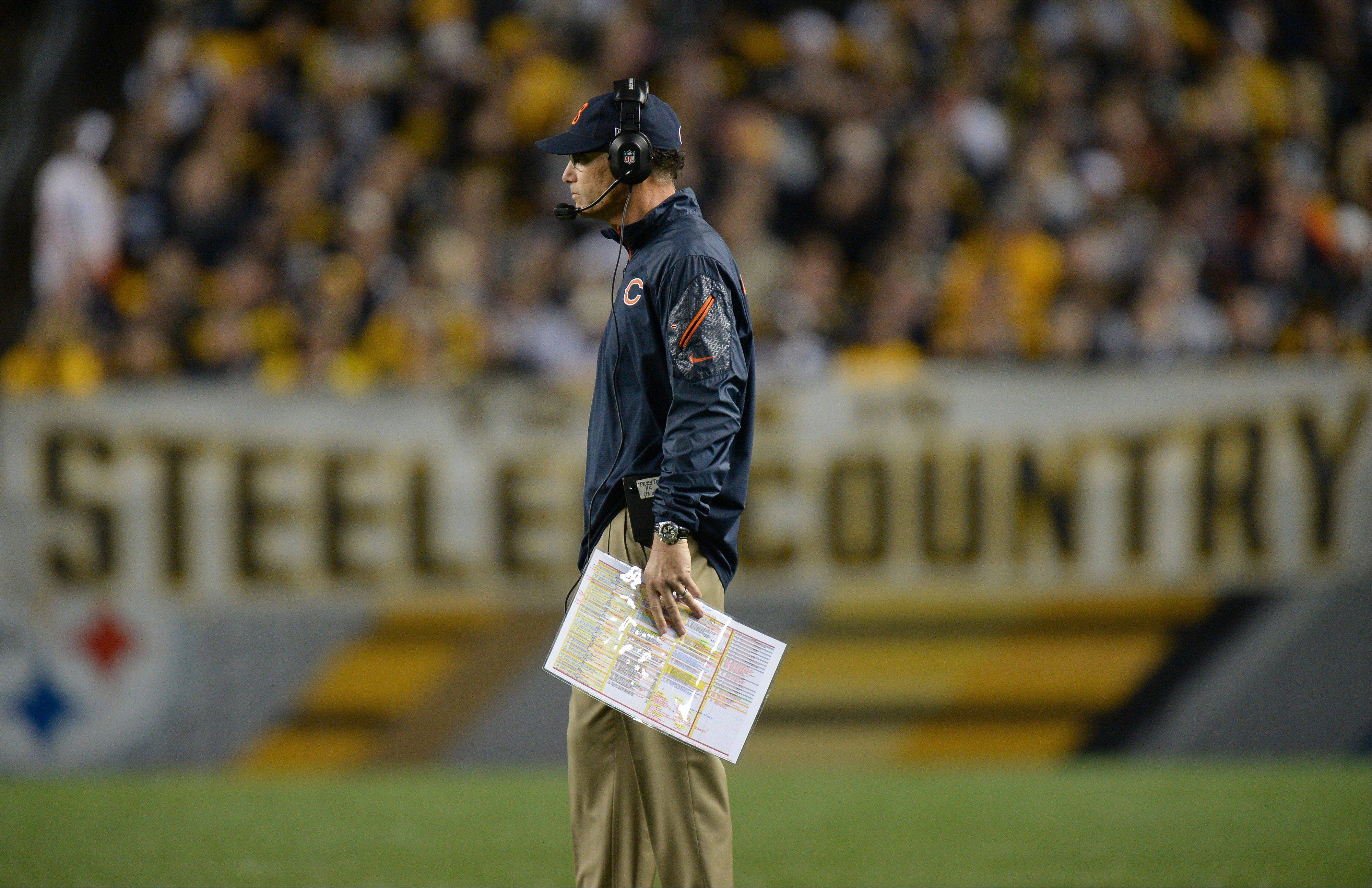 Chicago Bears head coach Marc Trestman on the field during a timeout in the first quarter of an NFL football game against the Pittsburgh Steelers on Sunday, Sept. 22, 2013, in Pittsburgh. The Bears won 40-23.