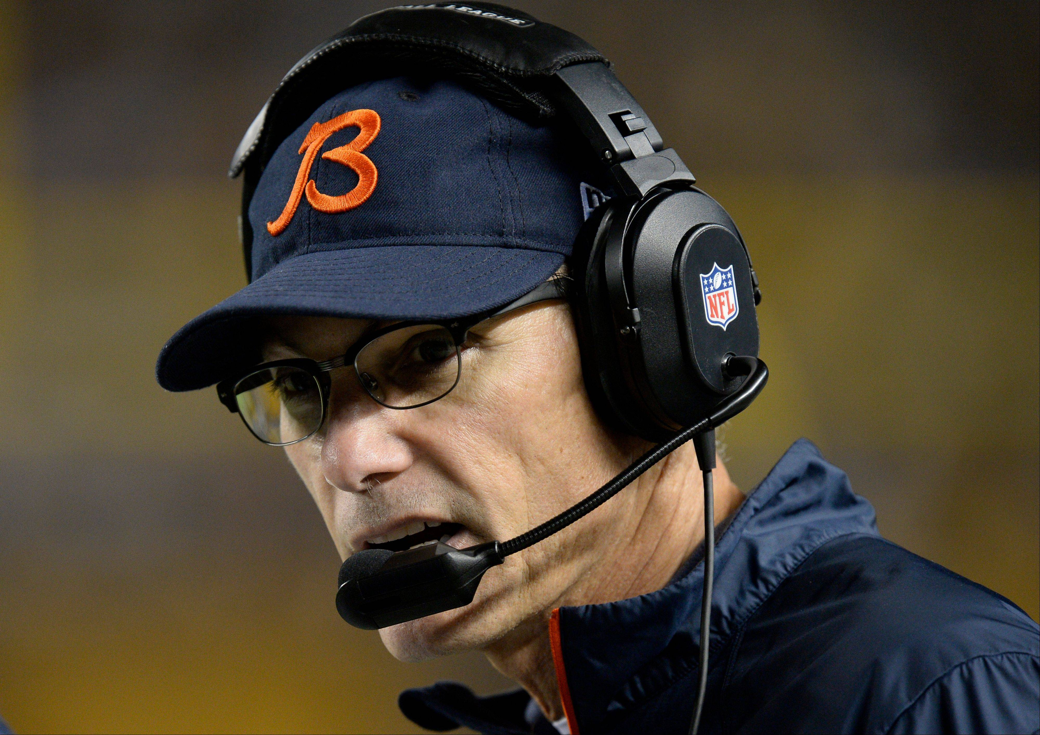 Chicago Bears head coach Marc Trestman on the sideline during the third quarter of an NFL football game against the Pittsburgh Steelers on Sunday, Sept. 22, 2013, in Pittsburgh. The Bears won 40-23.