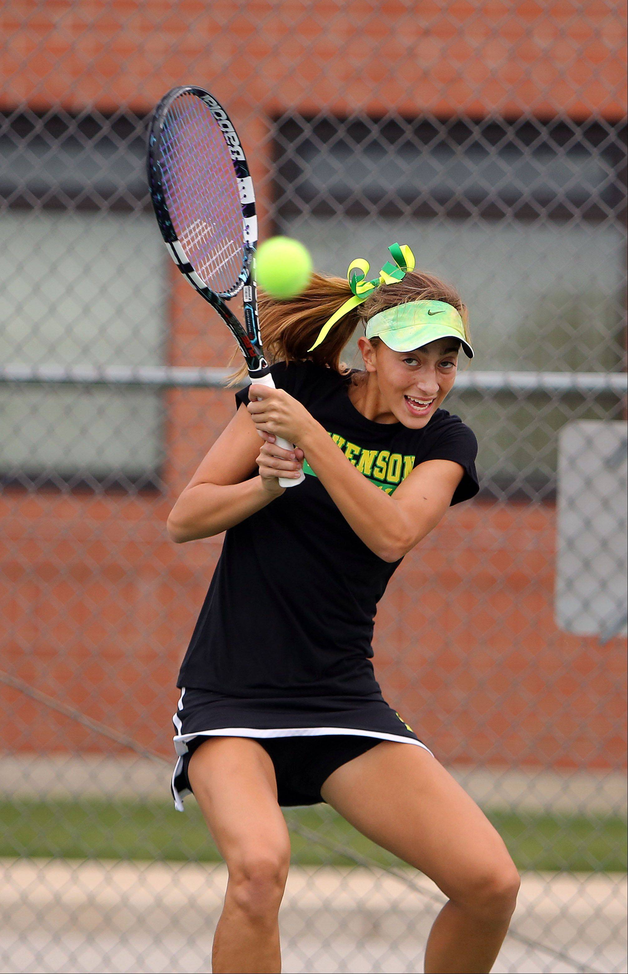 Stevenson's Lexxi Kiven returns a serve during girls tennis action Wednesday in Gurnee.