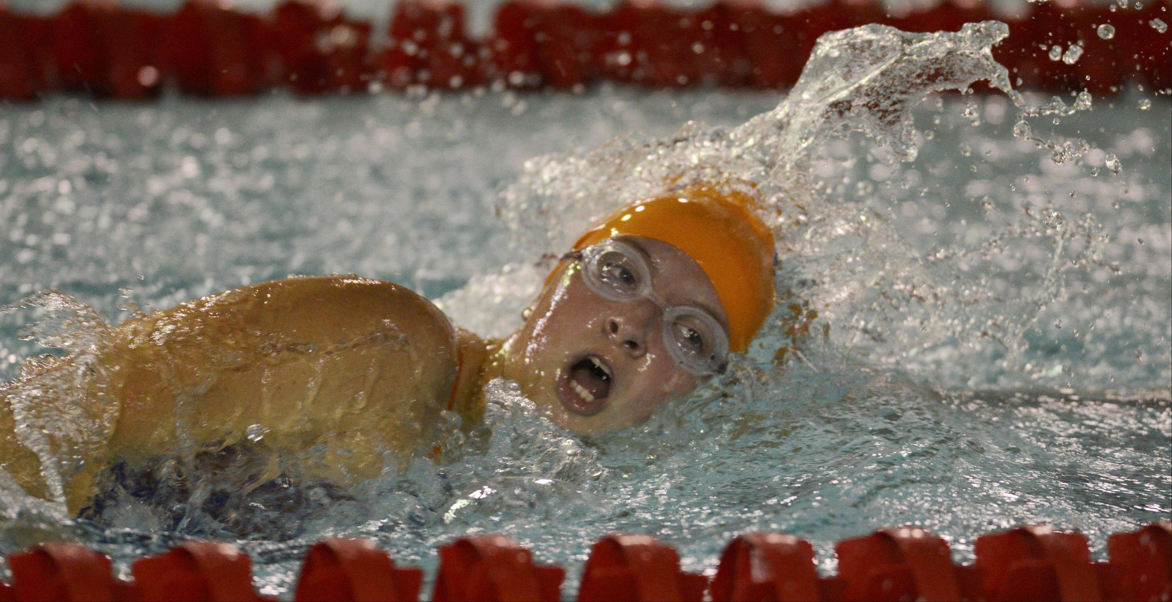 Hoffman Estates' Nicole Kasman swims the 200-meter freestyle during Wednesday's meet at Palatine.