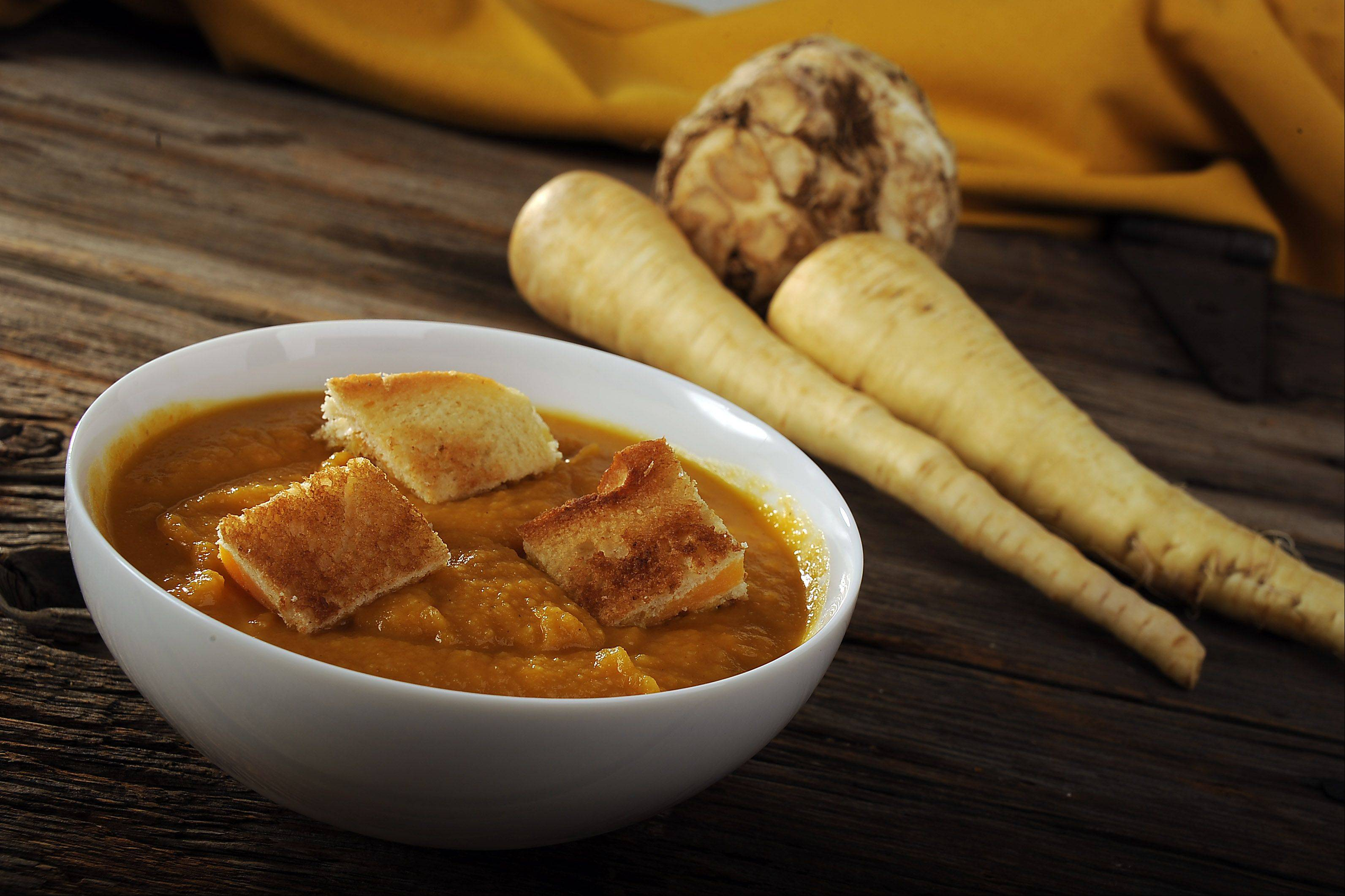 Roasted Root Vegetable Soup with Grilled Cheese Croutons