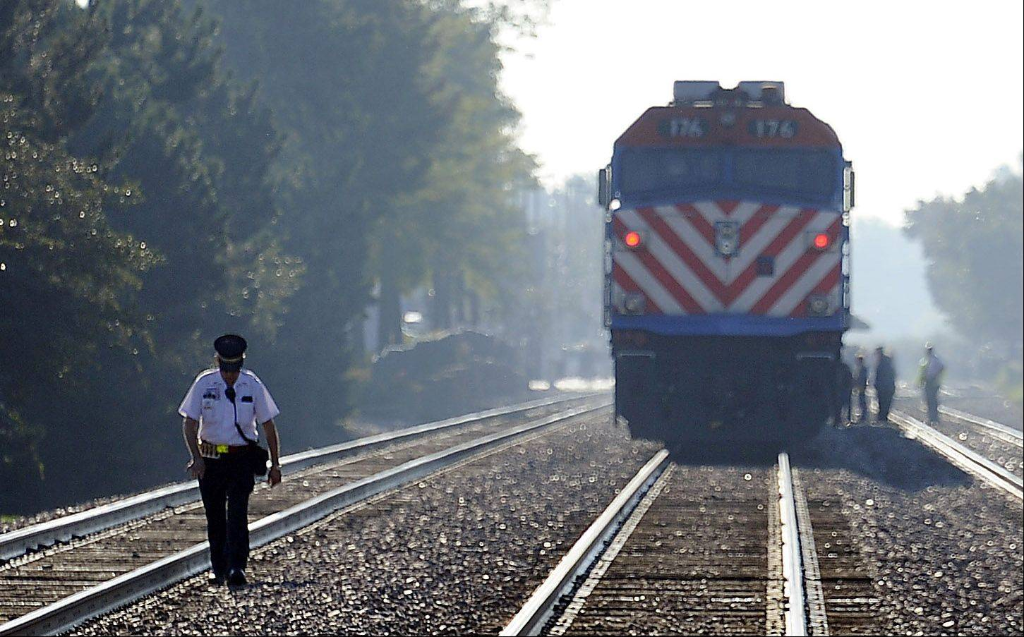 A bicyclist died Wednesday morning after being struck by a train on the Union Pacific Northwest Line in Mount Prospect, police said. The victim was a 95-year-old Mount Prospect man.