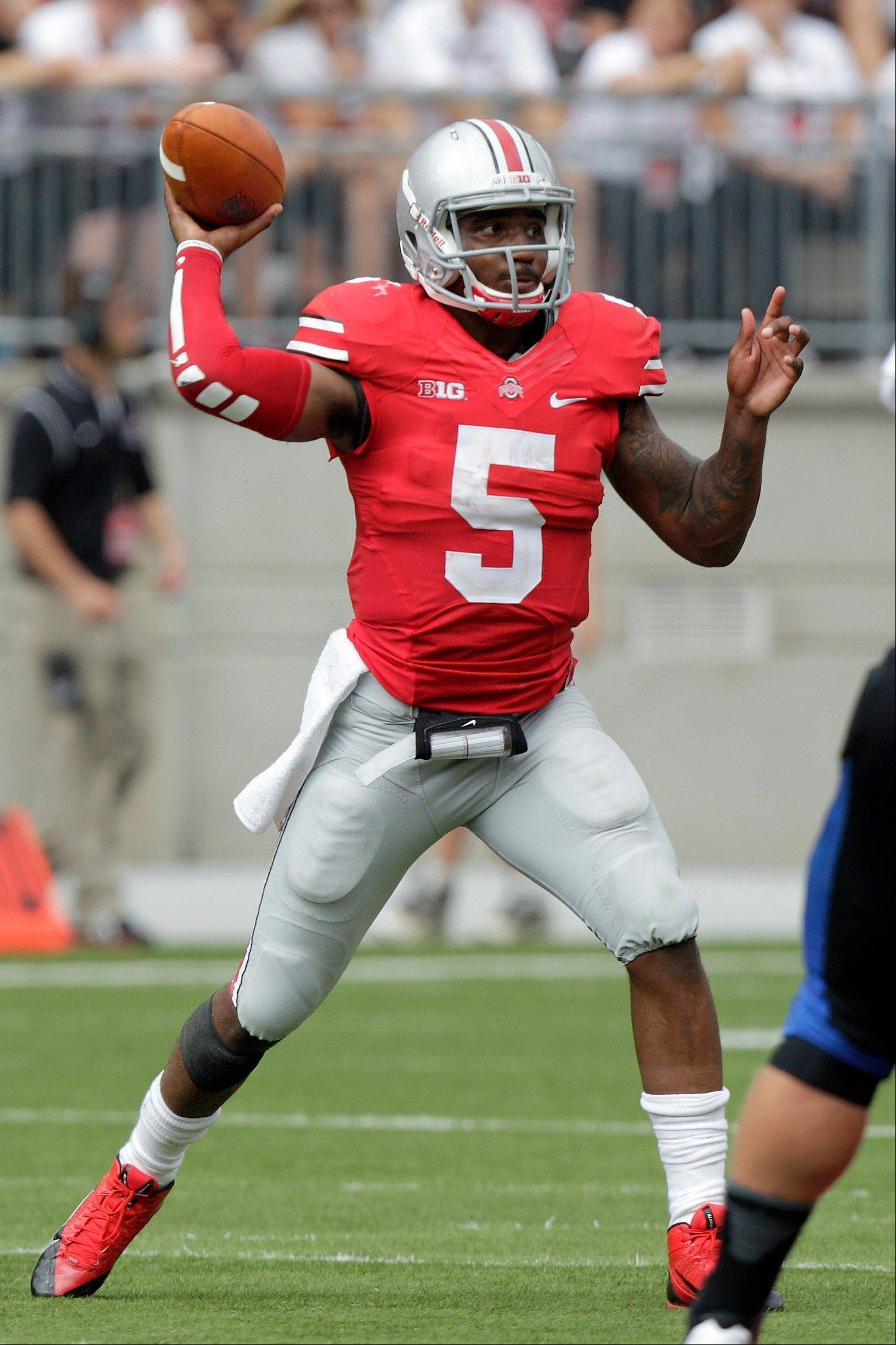 Braxton Miller was the Big Ten�s offensive player of the year in 2012 while leading the Buckeyes to a 12-0 record. He went down early in the Buckeyes� second game this season.