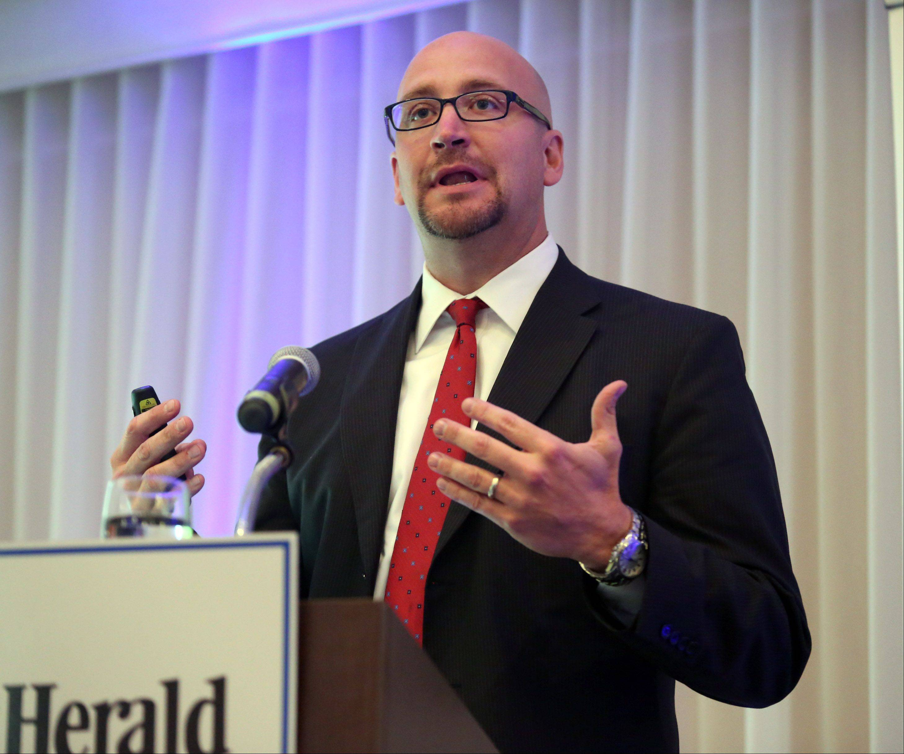 Michael Hartke, chief operating officer of Northwest Community Hospital, was part of a panel on the Affordable Care Act during a program Wednesday hosted by the Daily Herald Media Group at Chandler's Chop House in Schaumburg.