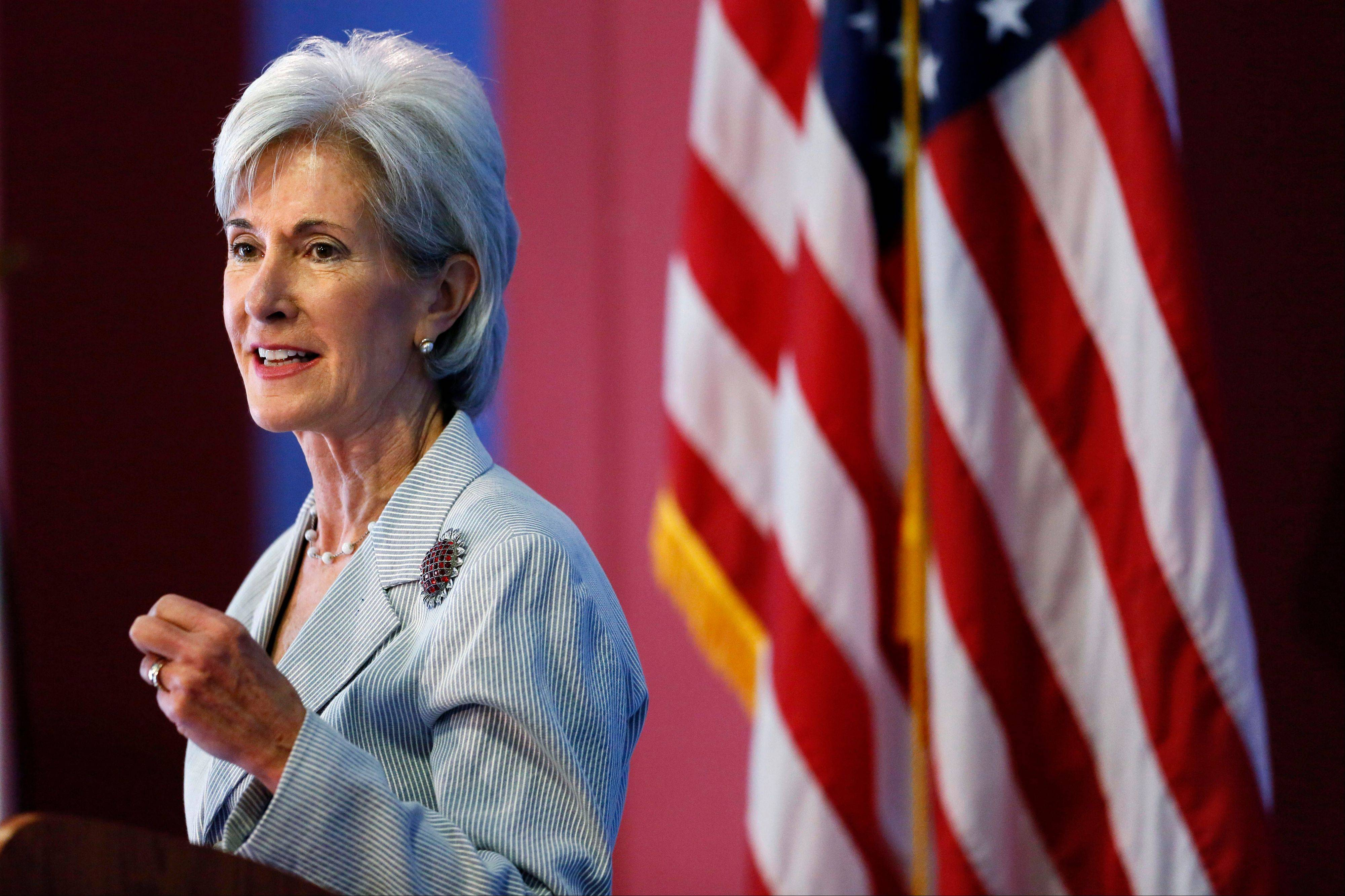 Health and Human Services Secretary Kathleen Sebelius speaks during an event discussing the federal health care overhaul in Philadelphia. With new health insurance markets launching next week, the Obama administration is unveiling premiums and plan choices for 36 states where the federal government is taking the lead to cover uninsured residents. The overview of premiums and plan choices, being released today by Sebelius, comes as the White House swings into full campaign mode to promote the benefits of the Affordable Care Act to a skeptical public.