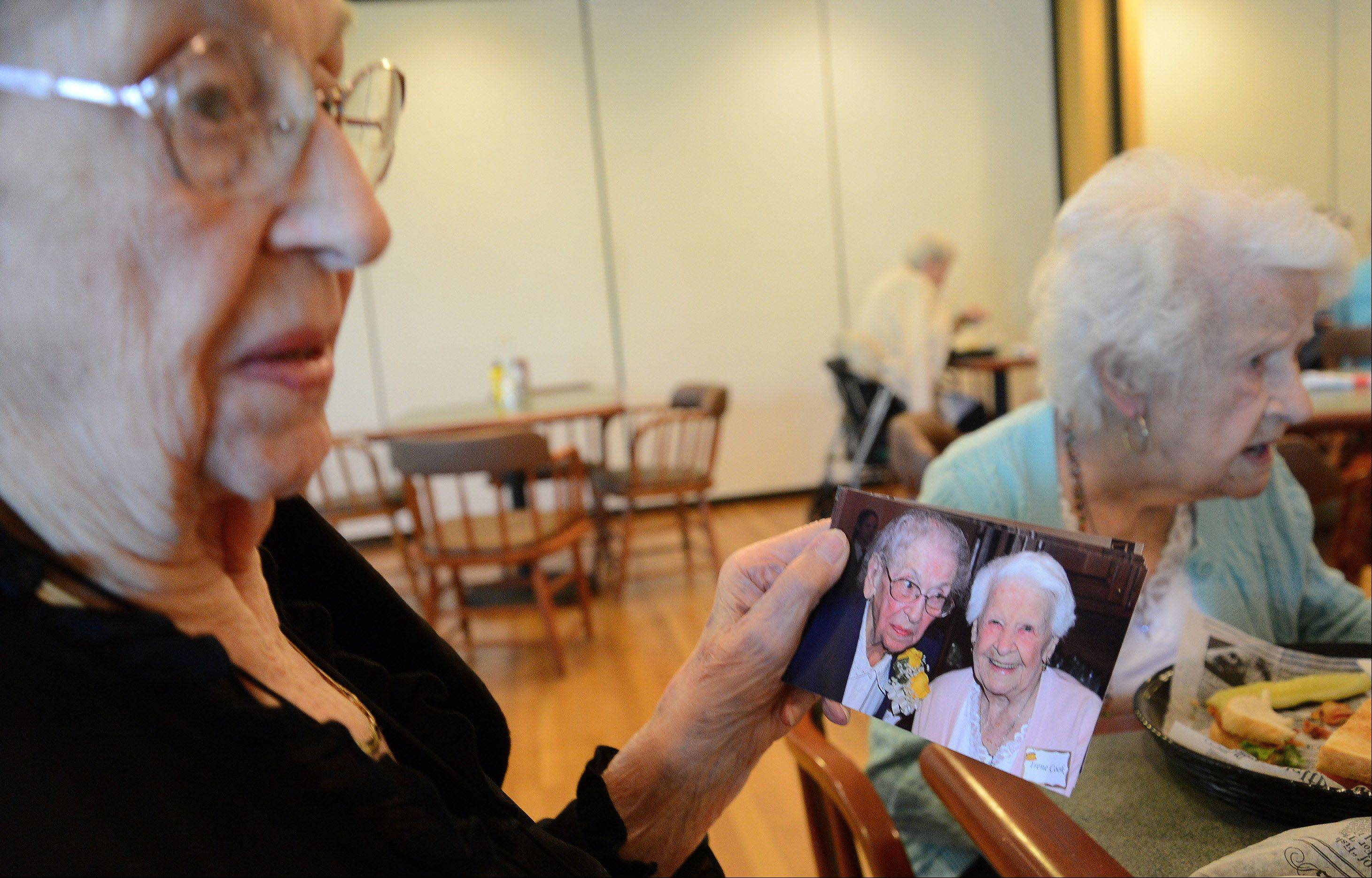 "Alice Jensen of Arlington Heights, right, and Irene Cook of Addison have been best friends for 95 years and celebrated one another's 100th birthdays together over the summer. ""I'm working on 200,"" Jensen jokes."