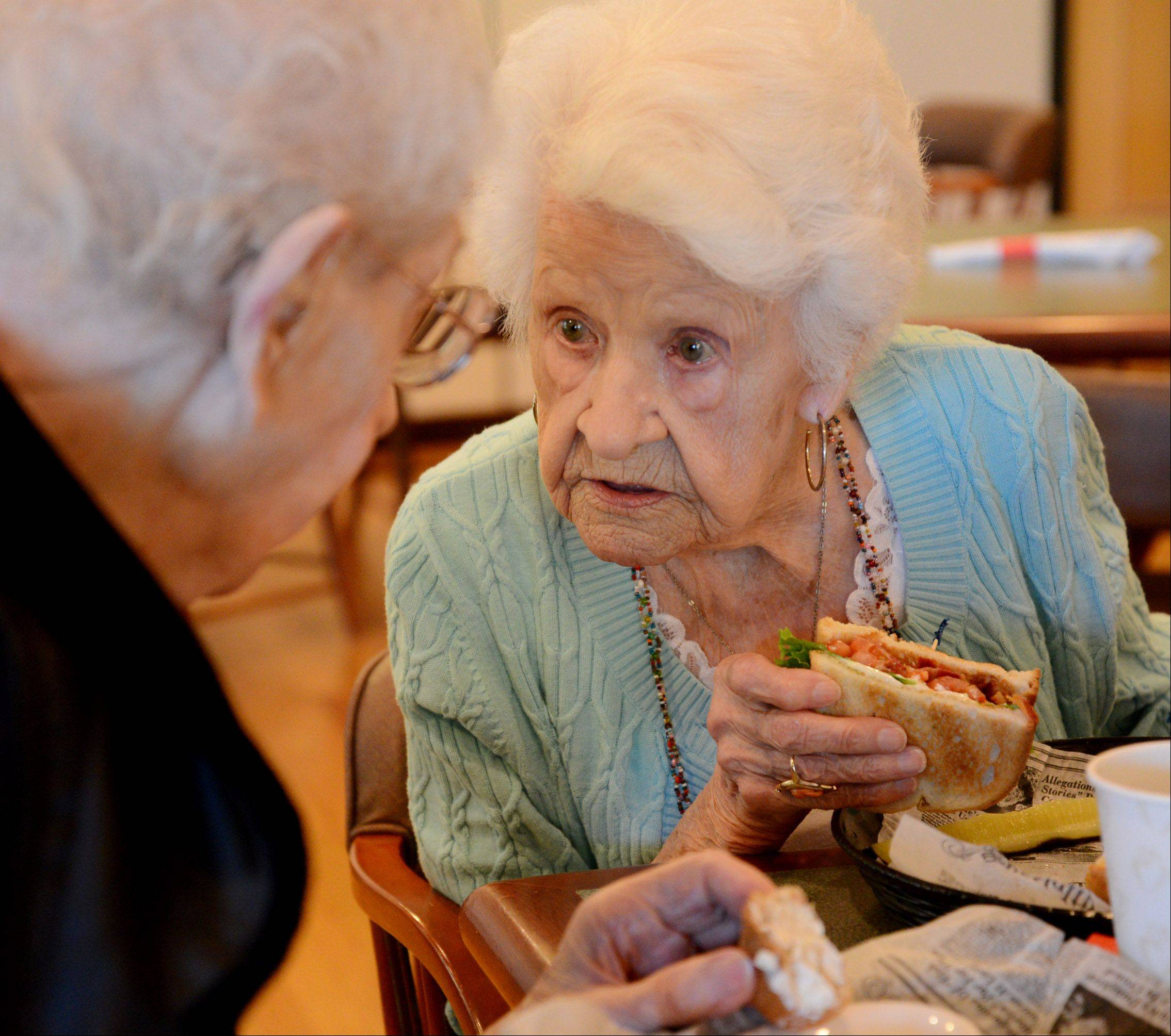 Alice Jensen of Arlington Heights and Irene Cook of Addison met as first-graders in 1918, starting a 95-year friendship. They celebrated one another's 100th birthdays together over the summer.